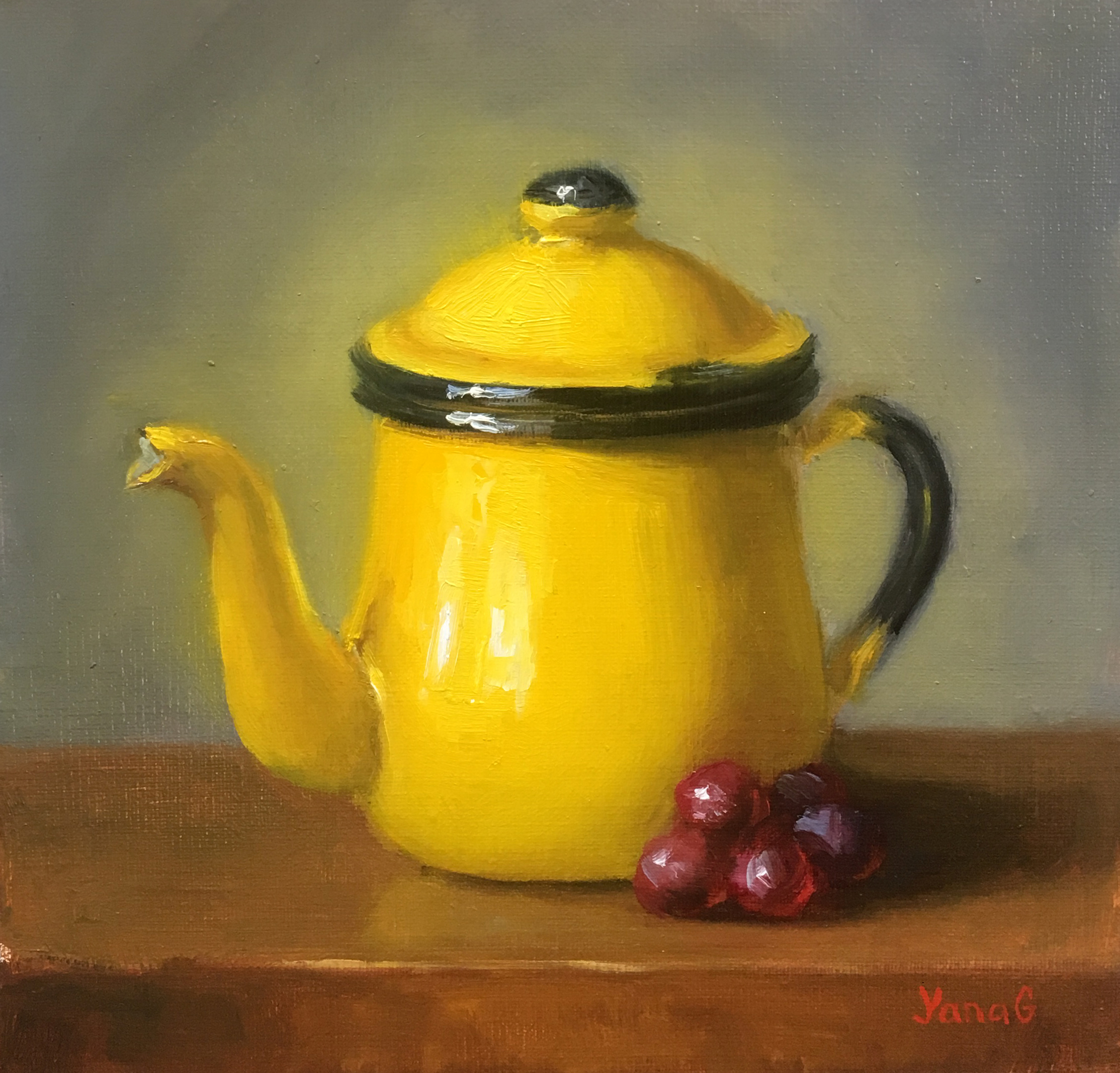 Teapot and grapes 8x8 Oil linen