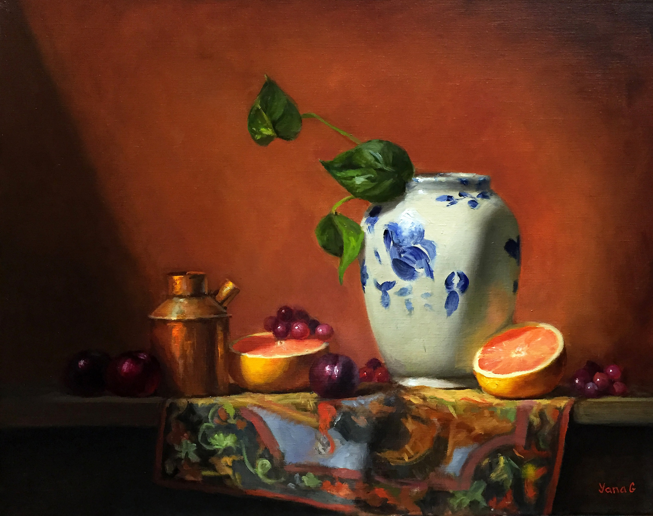 Still life with Chinese Vase and Grapefruit. Oil on linen. 16*20in