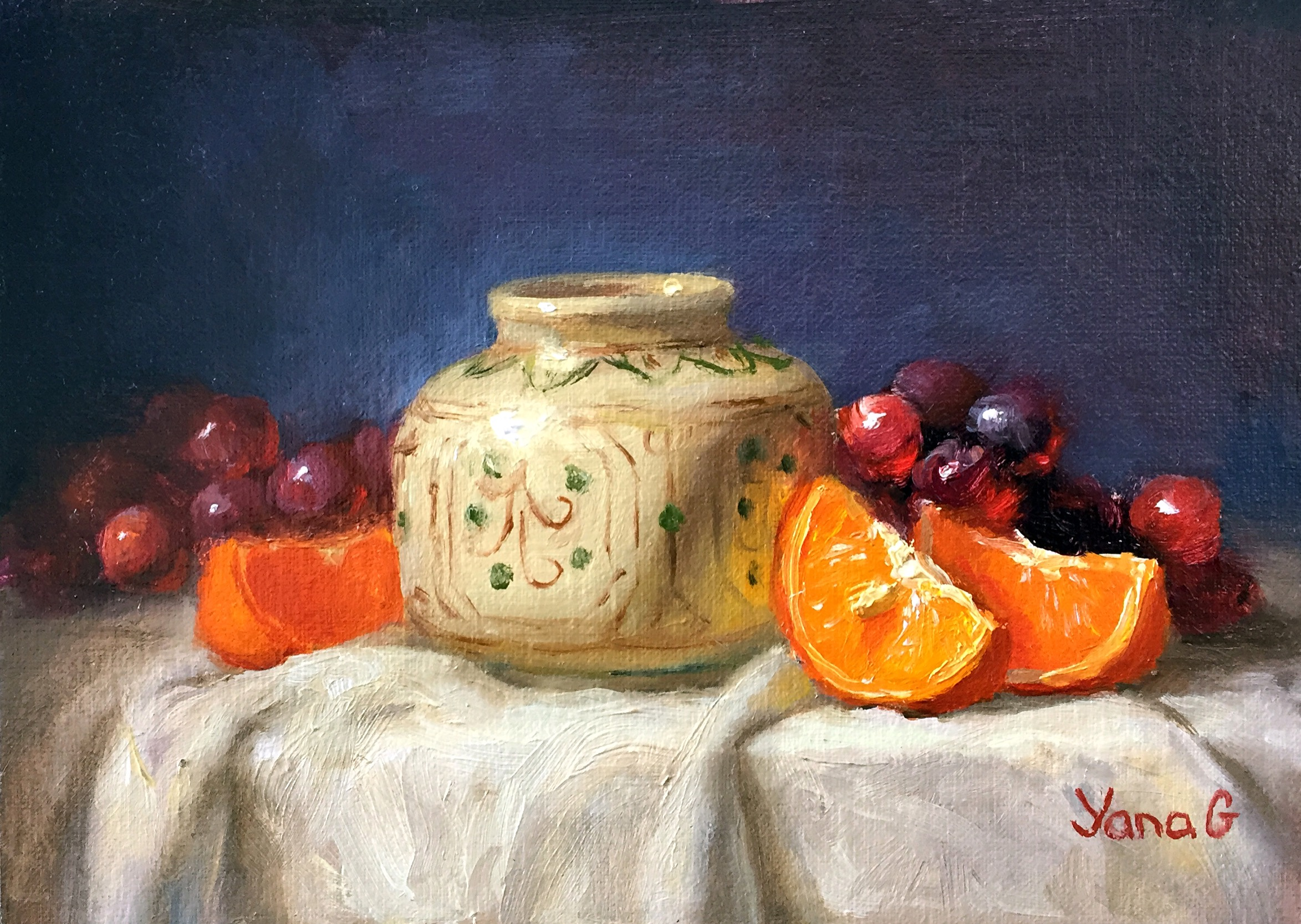 Still life with vase and mandarins. Oil. 5*7