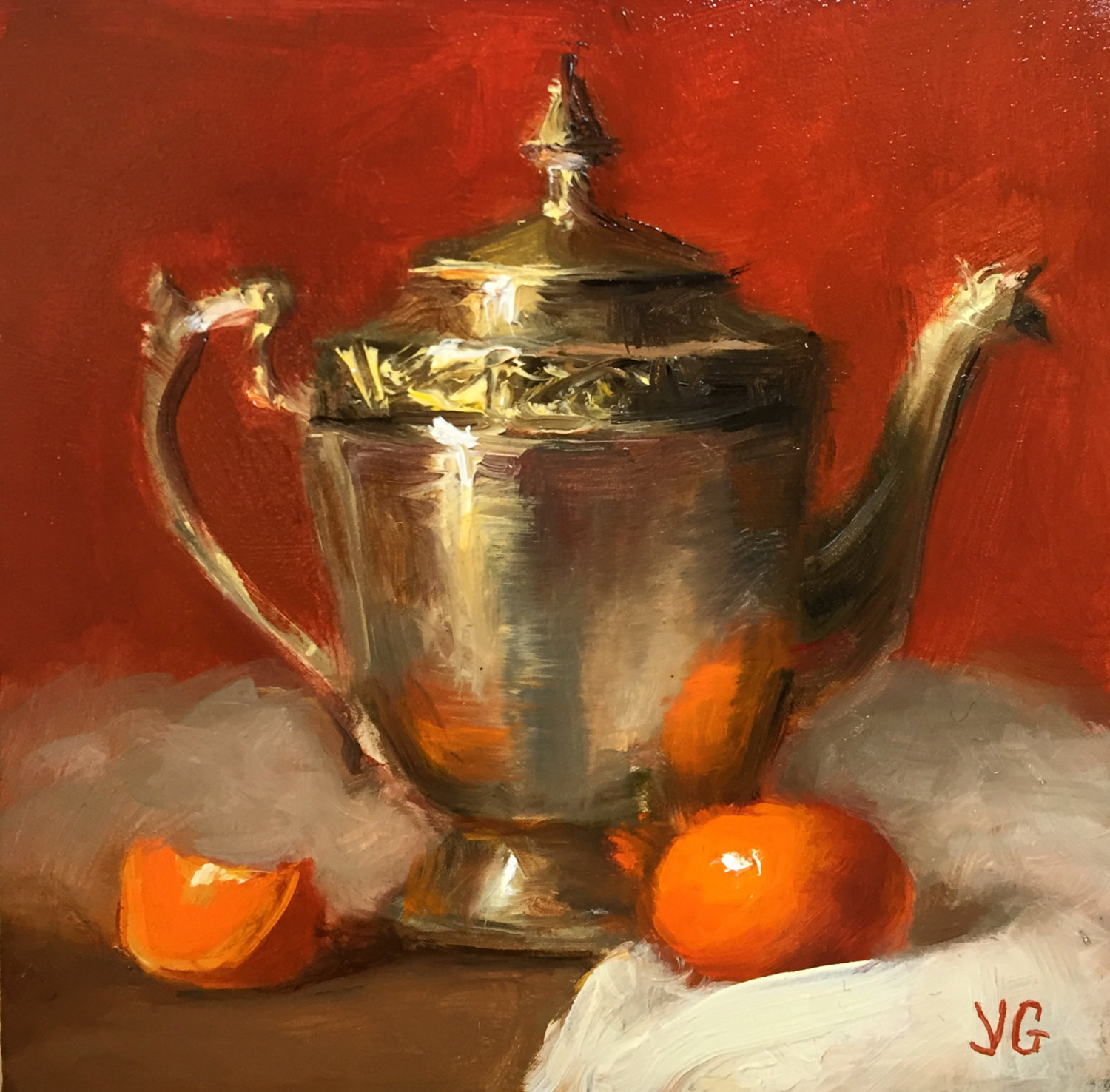 Metal pitcher and tangerine. Oil on board. 5*5