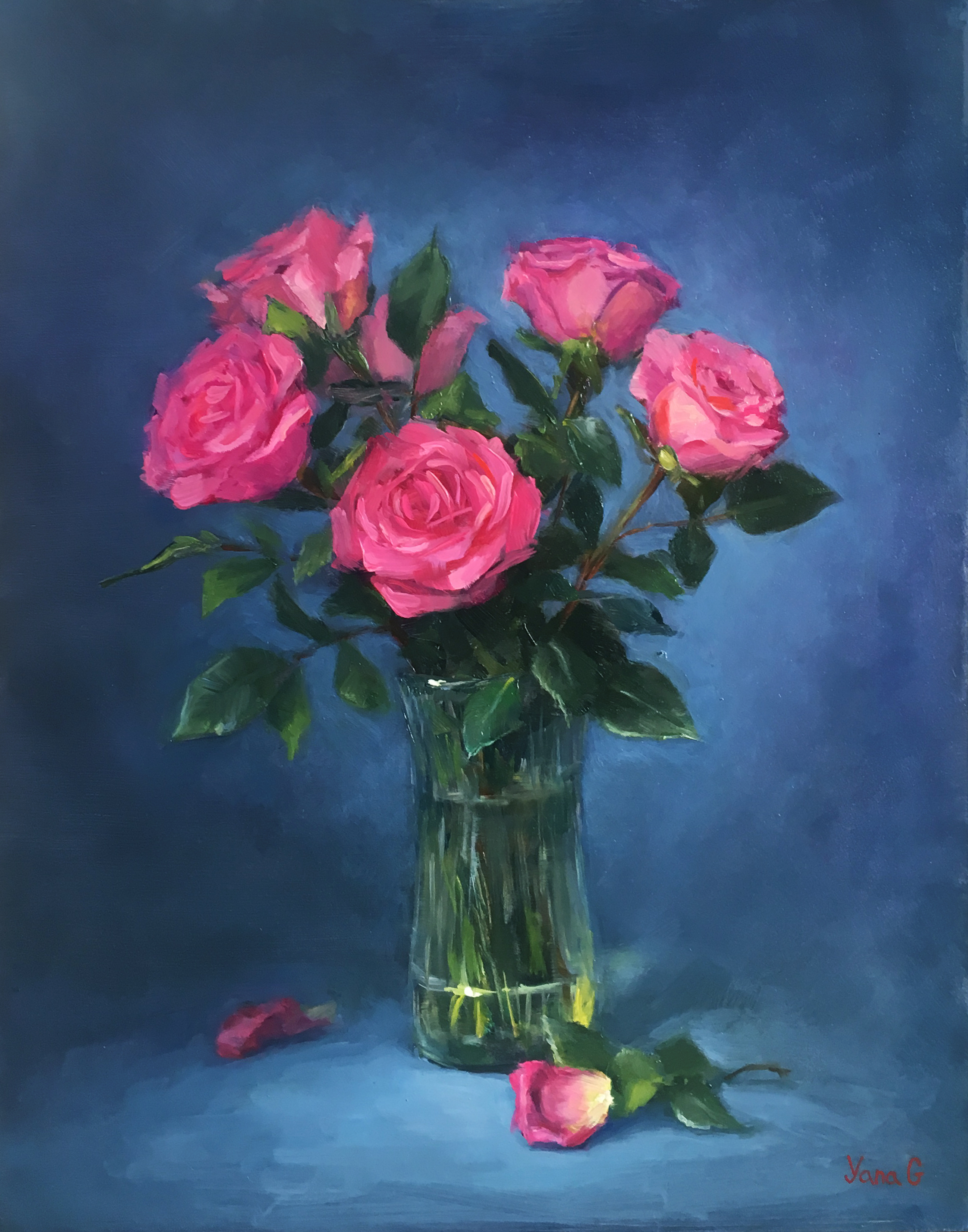 Pink Roses 11x14 Oil on board