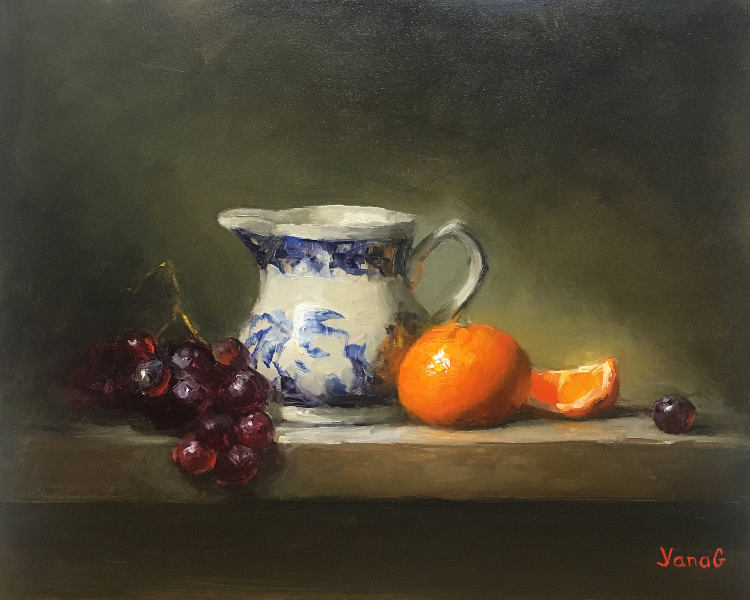 Creamer, Mandarin and Grapes 8x10 Oil on board