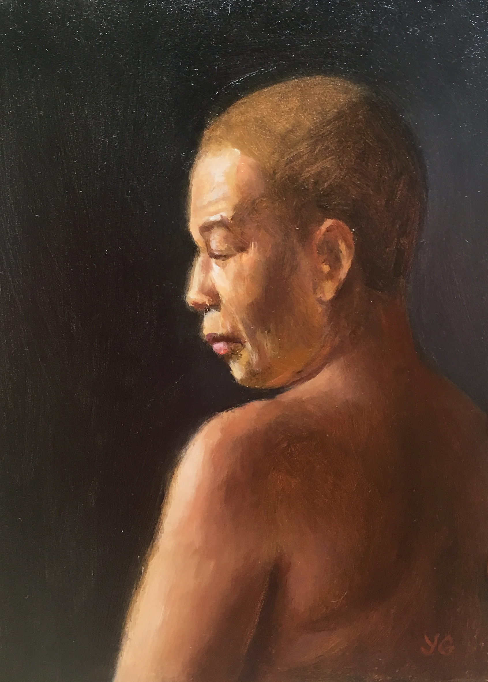 Woman with Short Hair 5x7 Oil on board