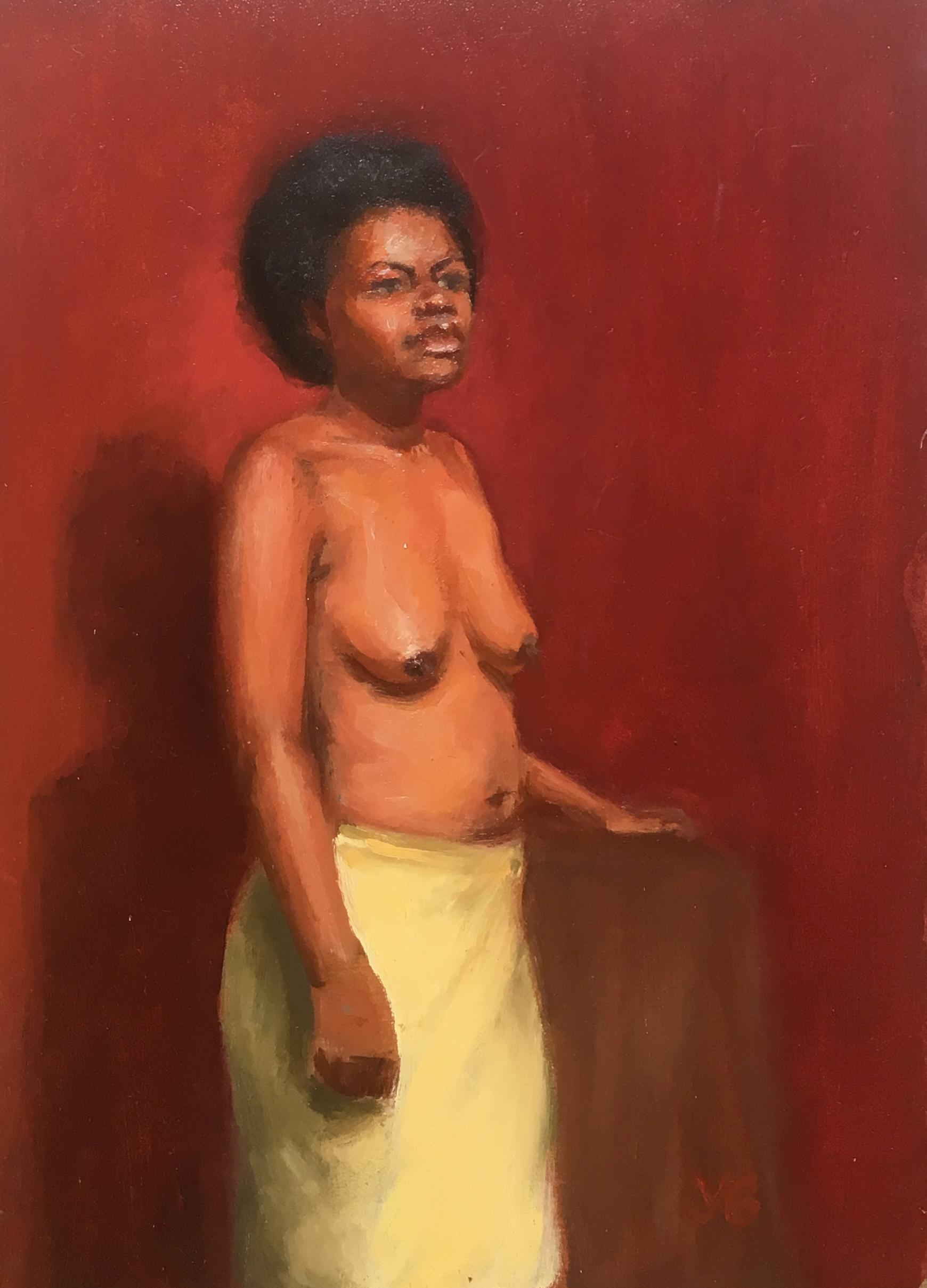 Woman in yellow skirt 5x7 Oil on board