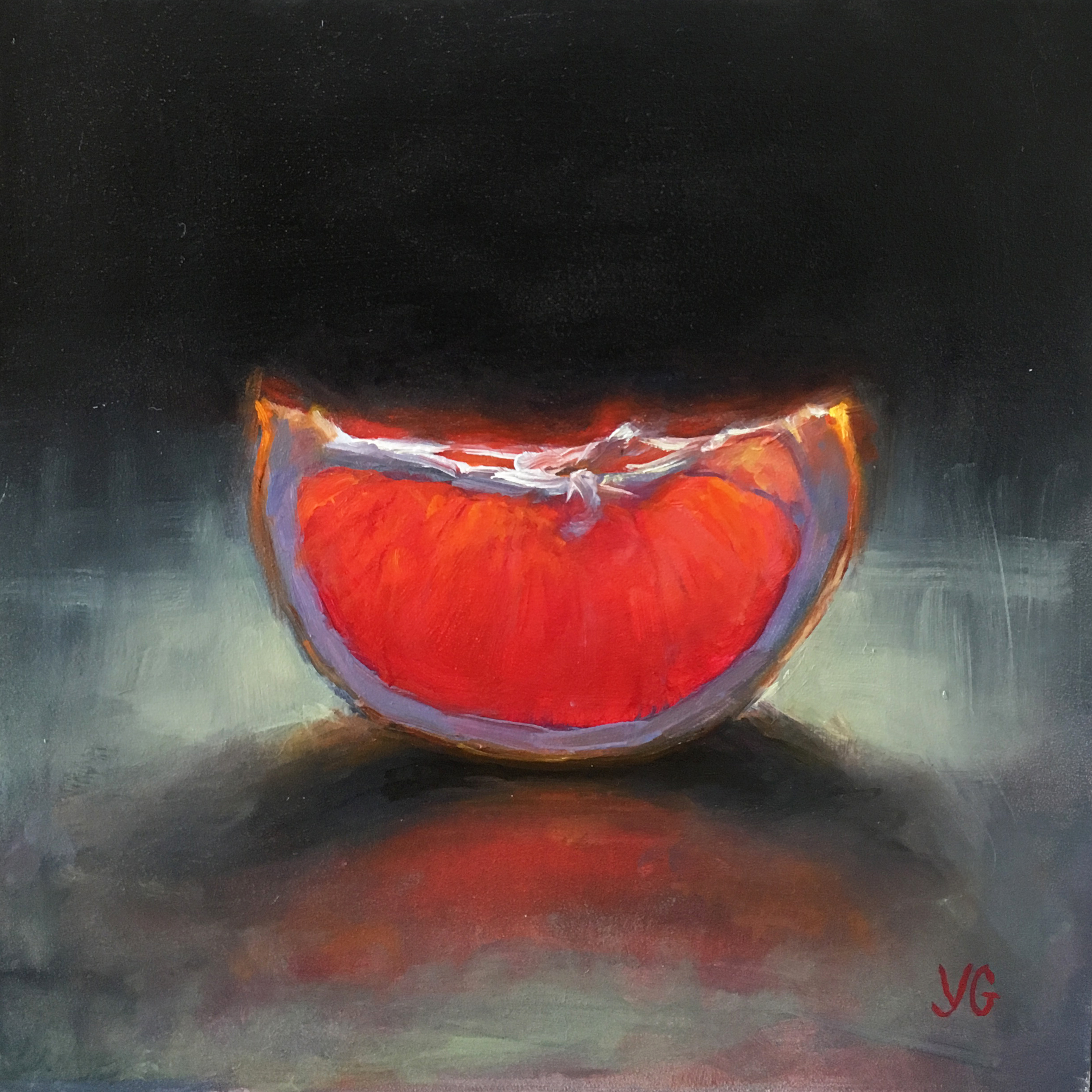 Grapefruit Slice 6x6 Oil on board