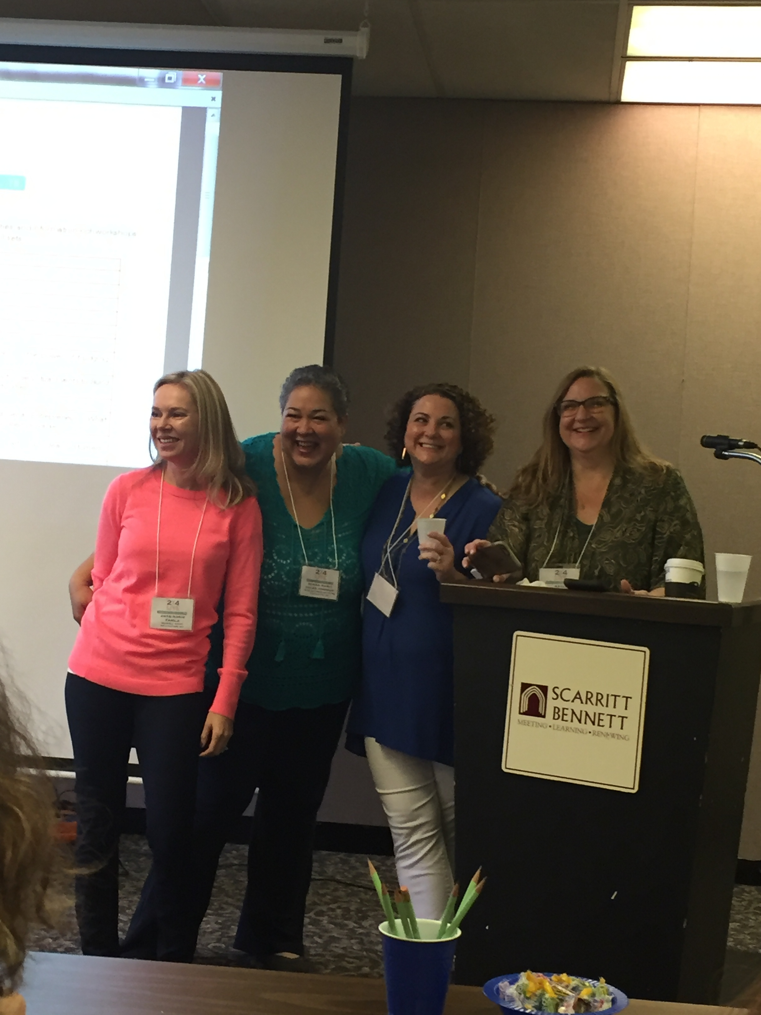 From left to right: Ann Marie from  Brambleberry , Donna Marie from  Indie Business Network , Lela from  Lucky Break Consulting , and Kayla from  Selah Press