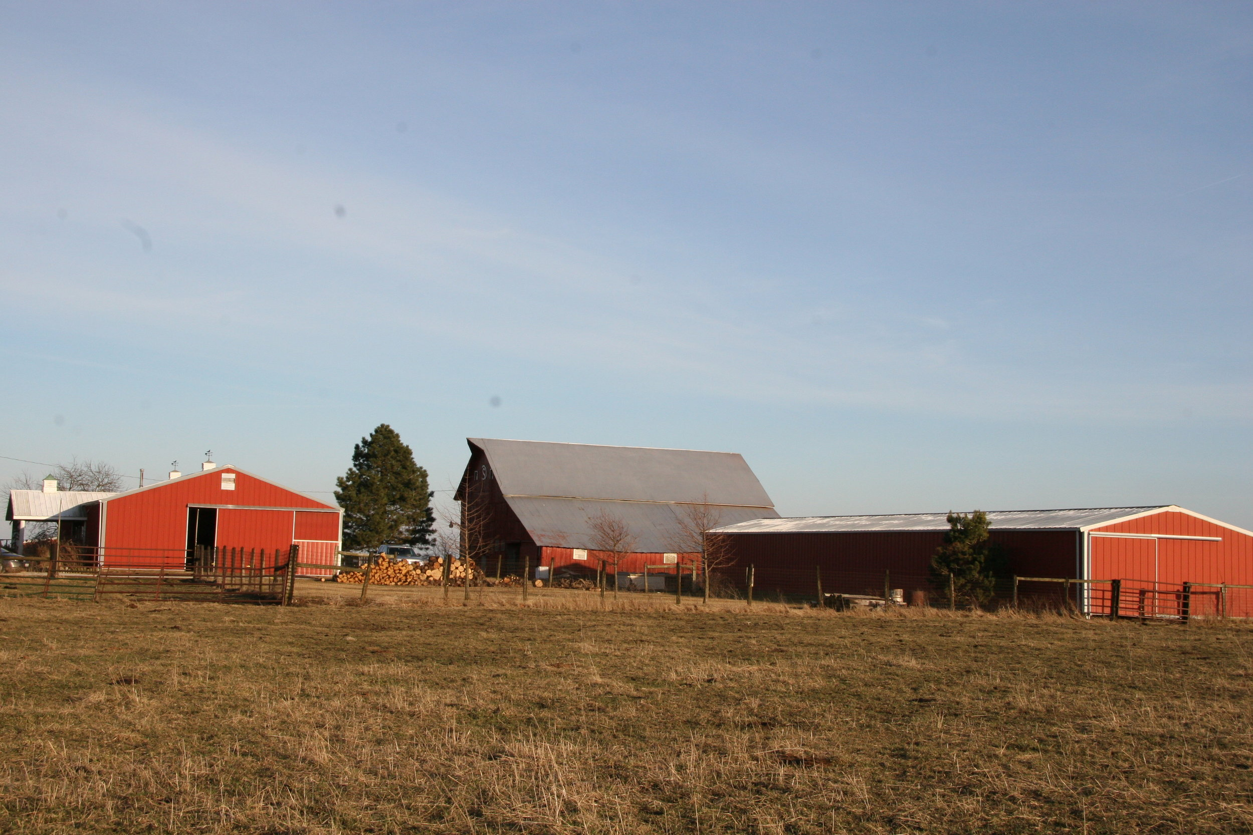 A view of the homestead and our many barns