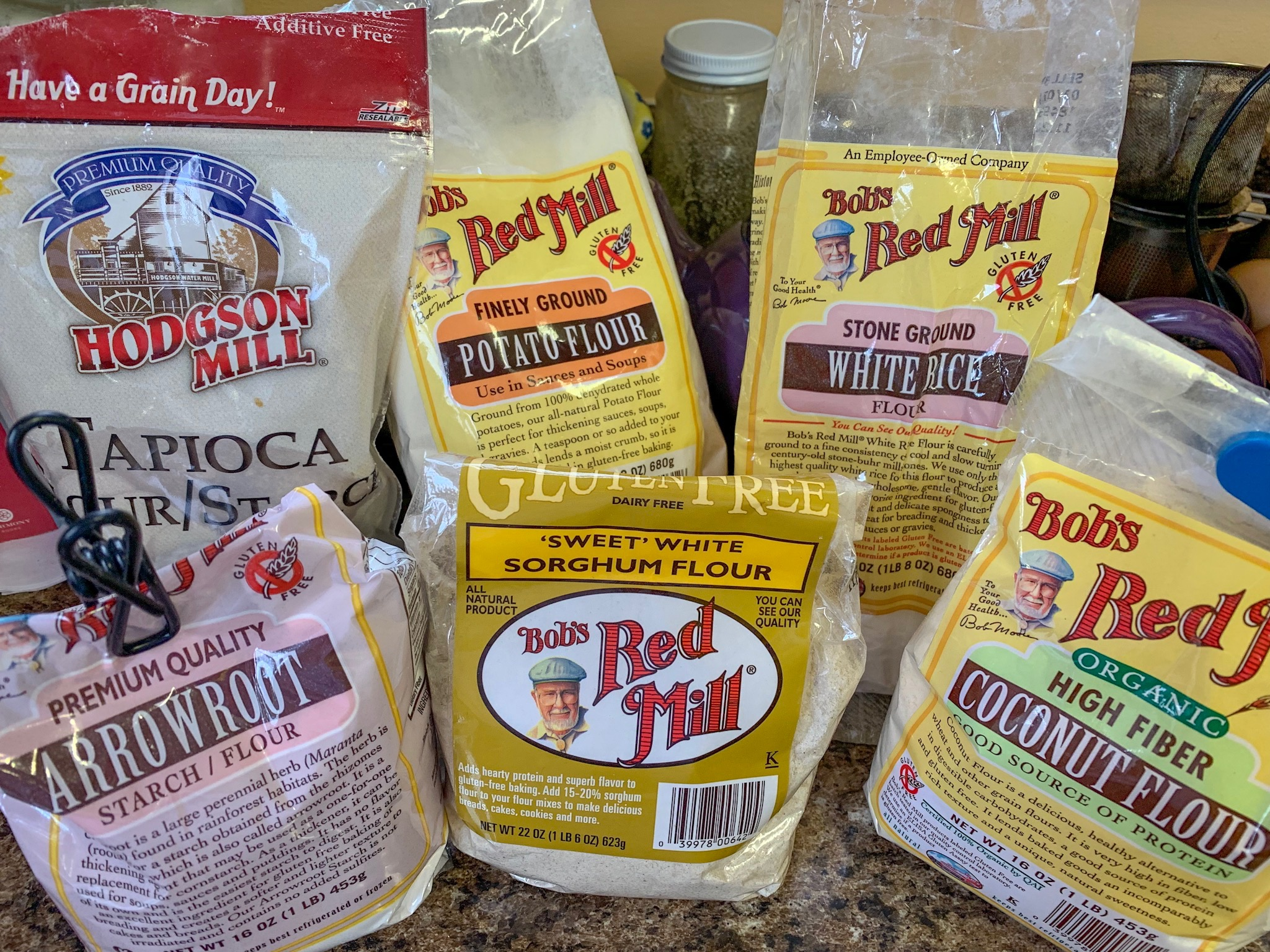 My assortment of gluten free flours. My favorite is white rice flour. Out of all of these, it acts normally. It really depends on what you are making as to the type of flour to use. If you are looking for a more low-carb option, then cream soups are not for you. Stick with the broth and you will still have a yummy soup.