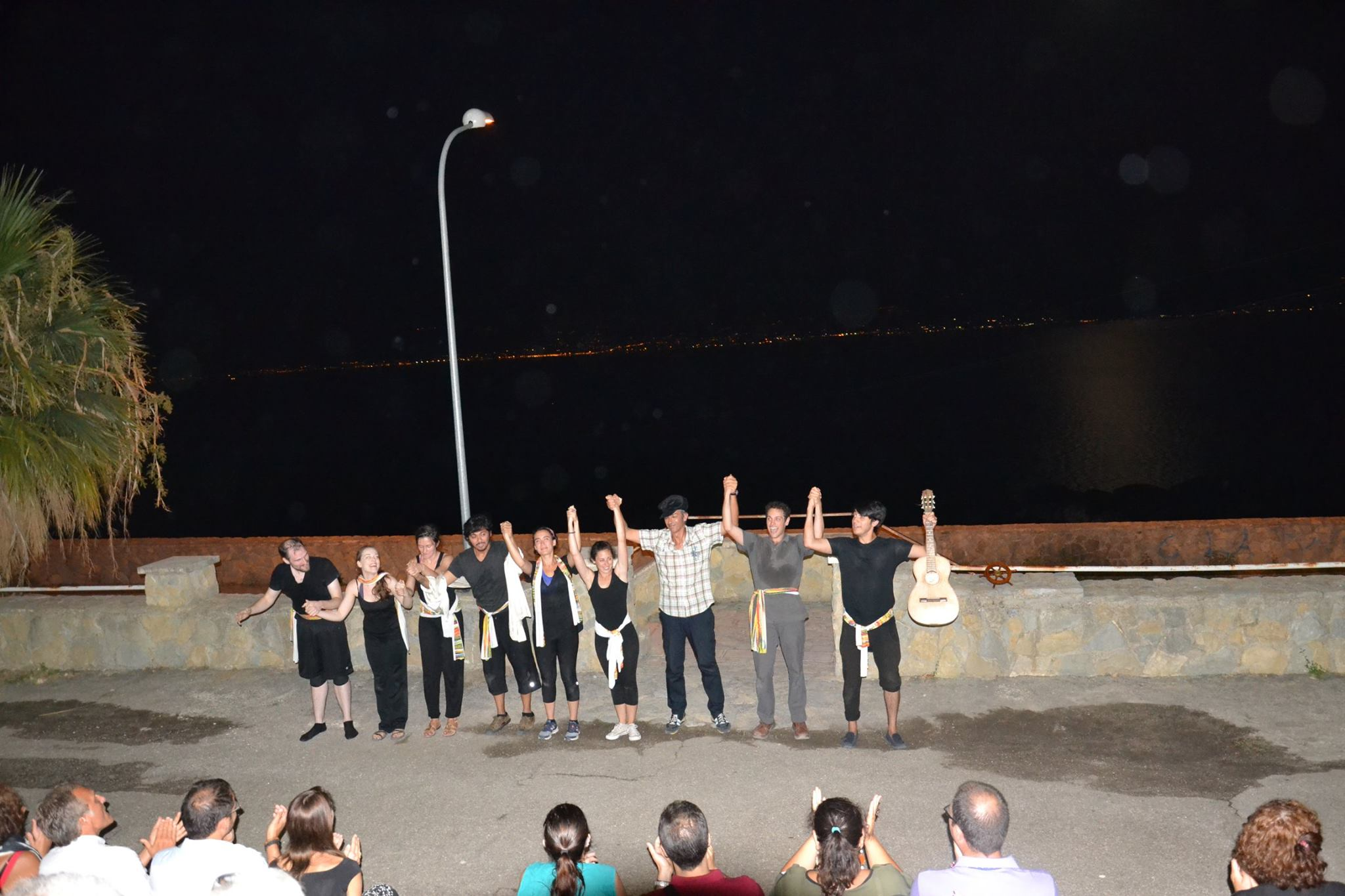 Company members take a bow in front of San Placido Calonerò