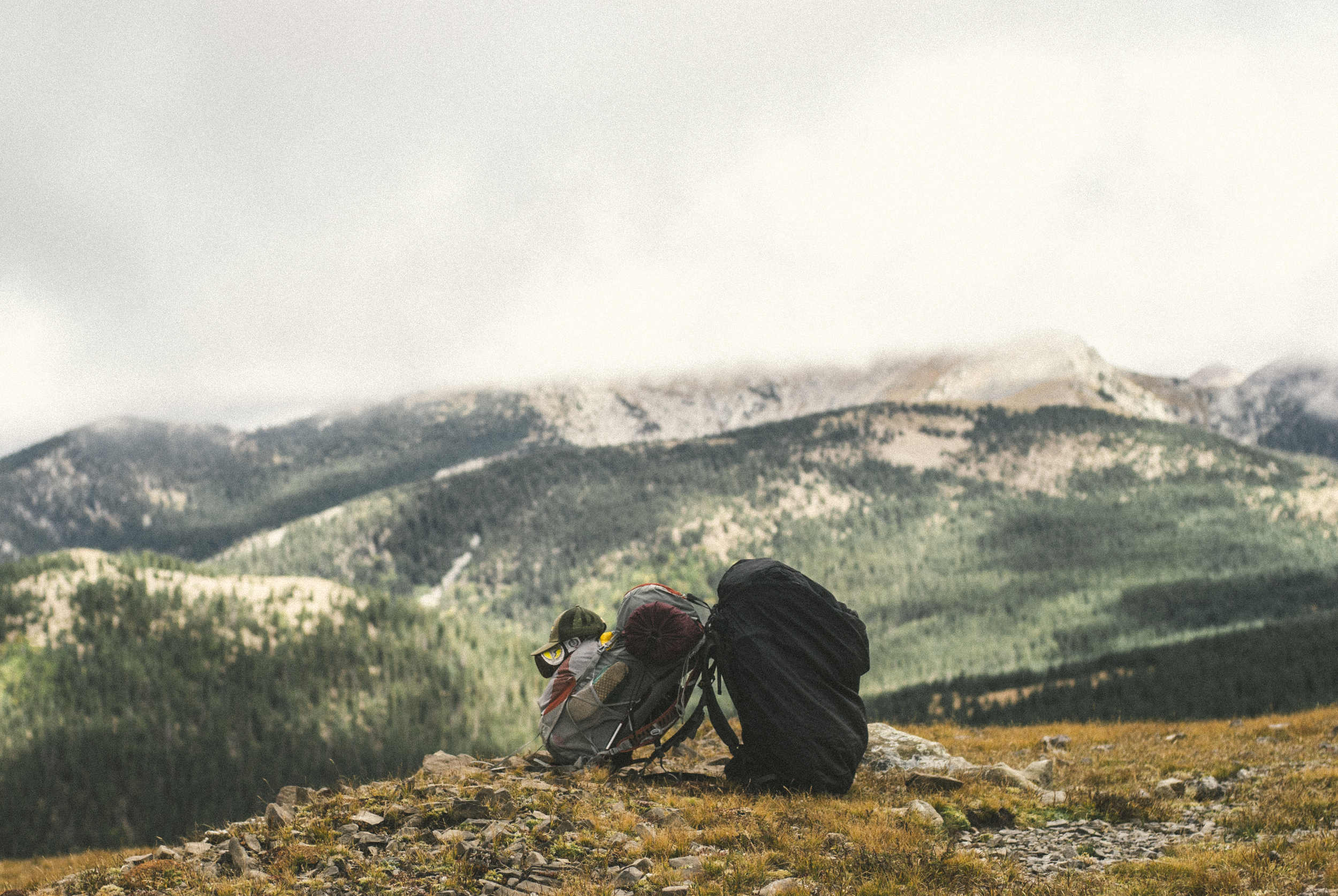 Our packs atop Trail Rider's Wall, between Pecos Baldy Lake and Truchas Lakes