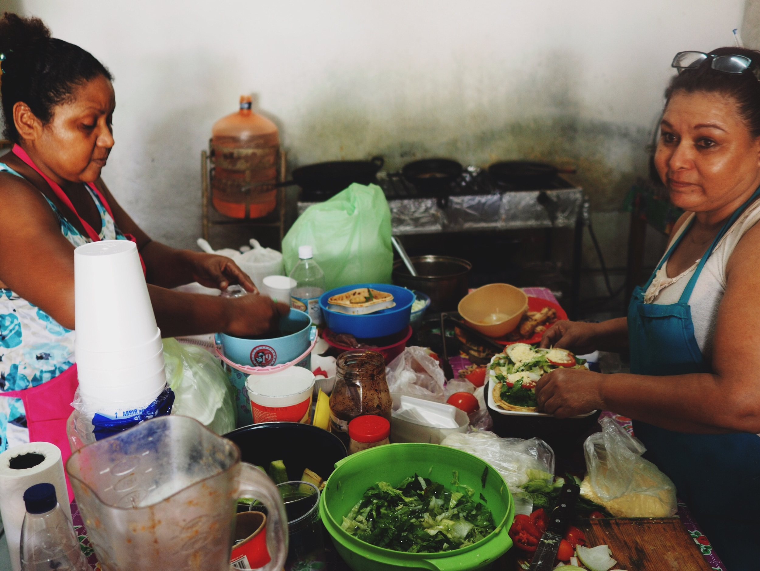 The wonderful cooks at a Cocina Economica where a construction worker bought us lunch