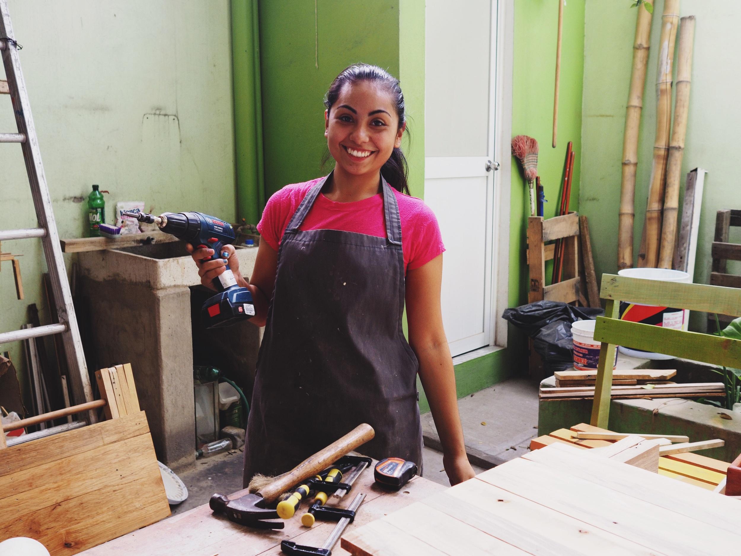 Cassandra, woodworker in Colima
