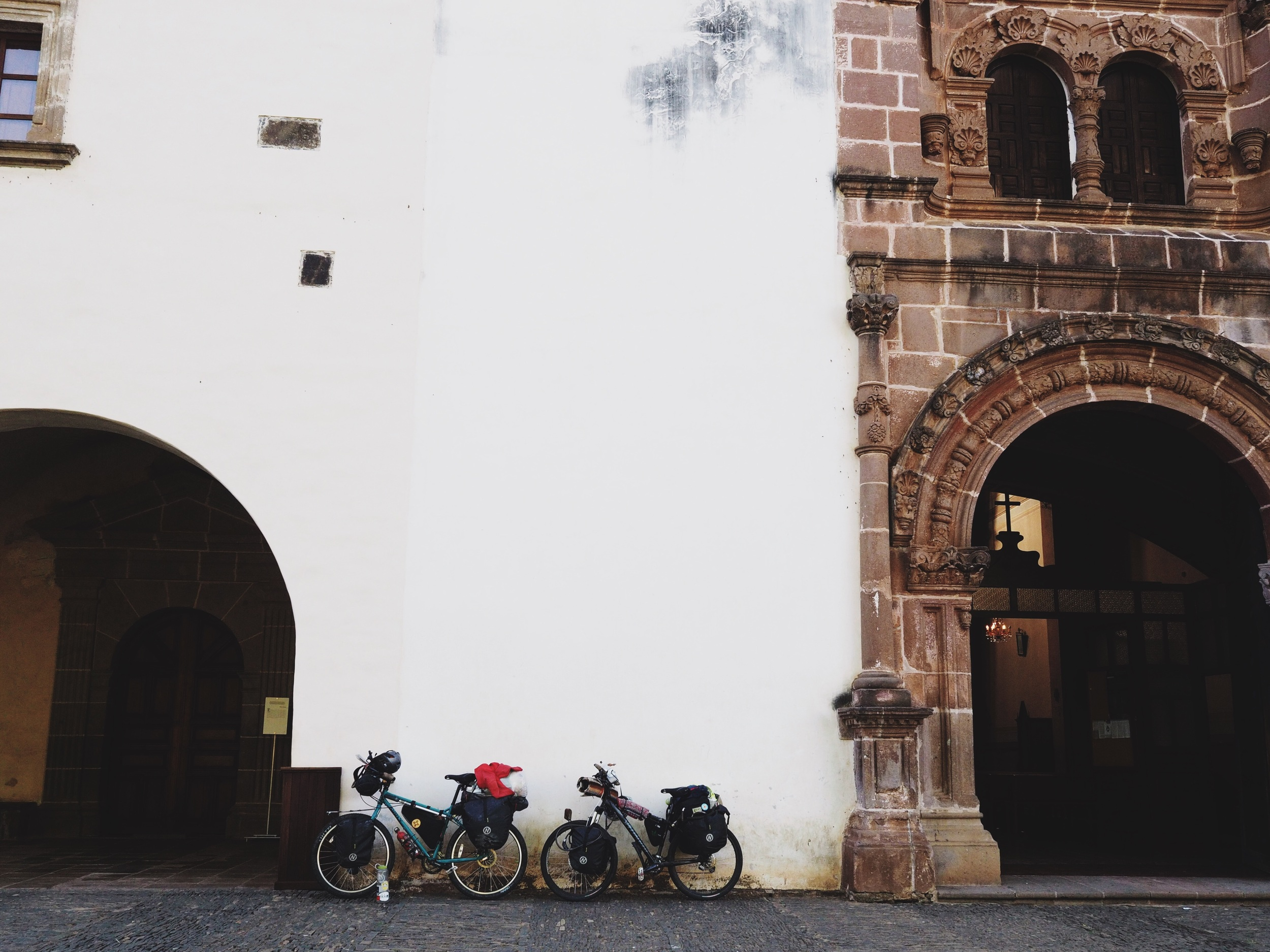 Bikes parked outside the old Jesuit convent in Tzintzuntzan