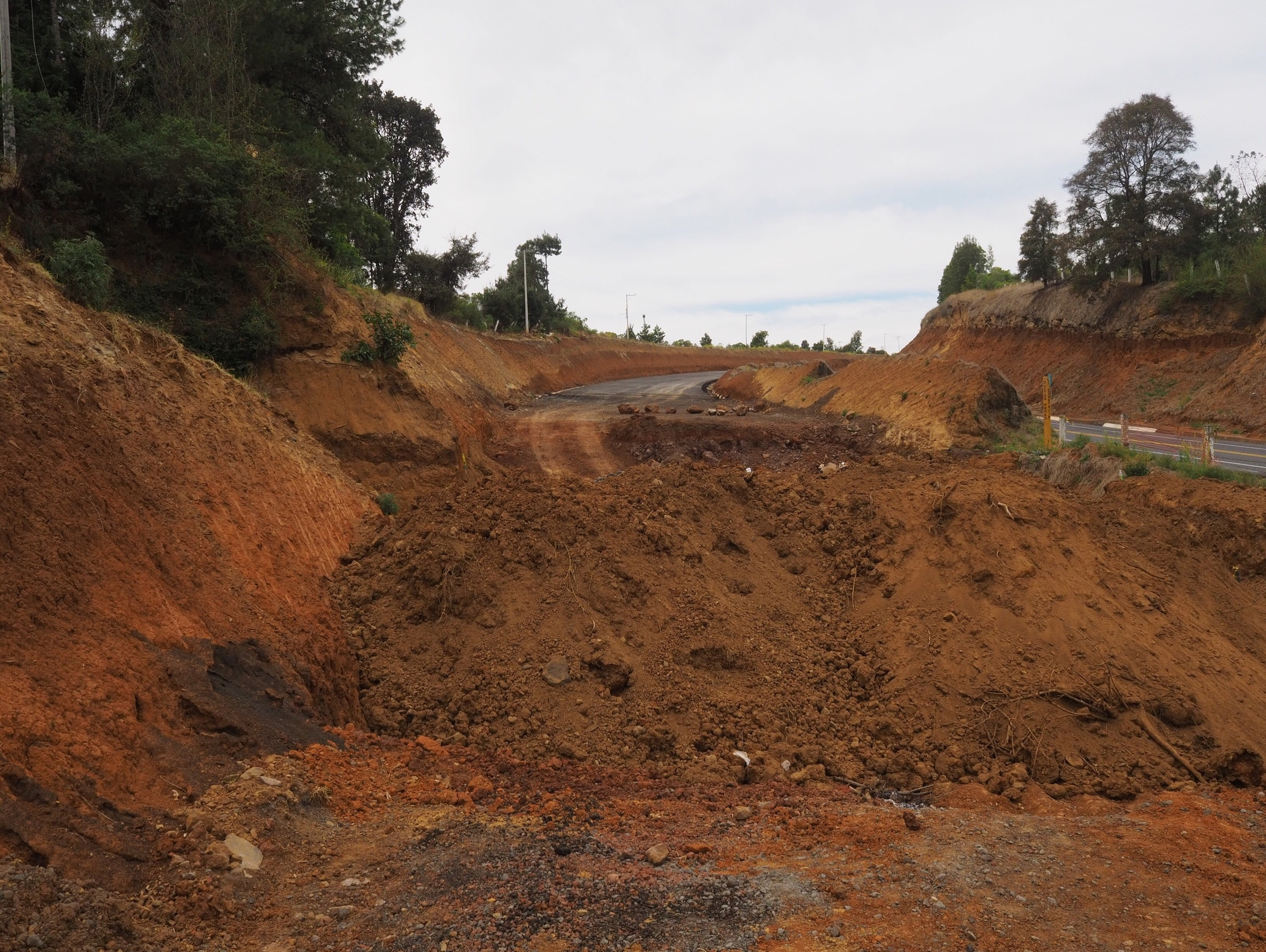 Widening the autopista outside Patzcuaro - we took the opportunity to ride the new road without traffic, but it turned into this
