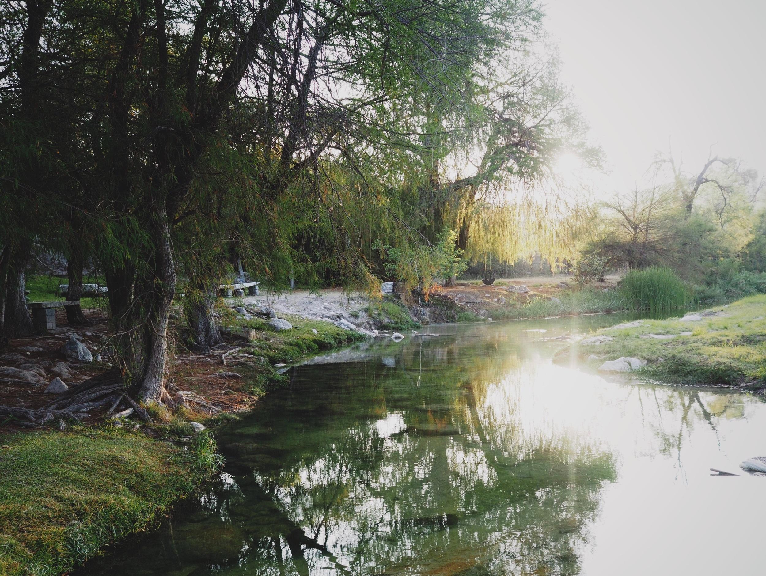 Camped along a river outside Tepexi de Rodriguez