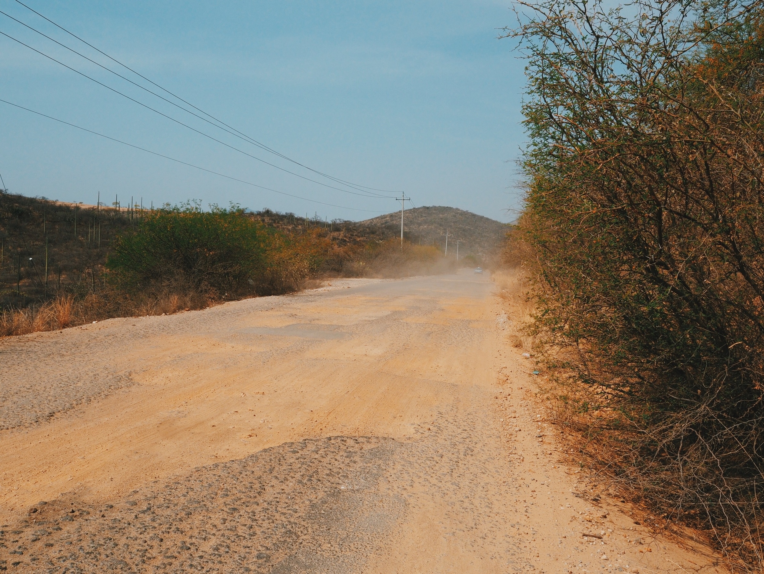 Paved roads through Southern Puebla were a bit chewed up but with so little traffic we were able to navigate the pot-holes no problem