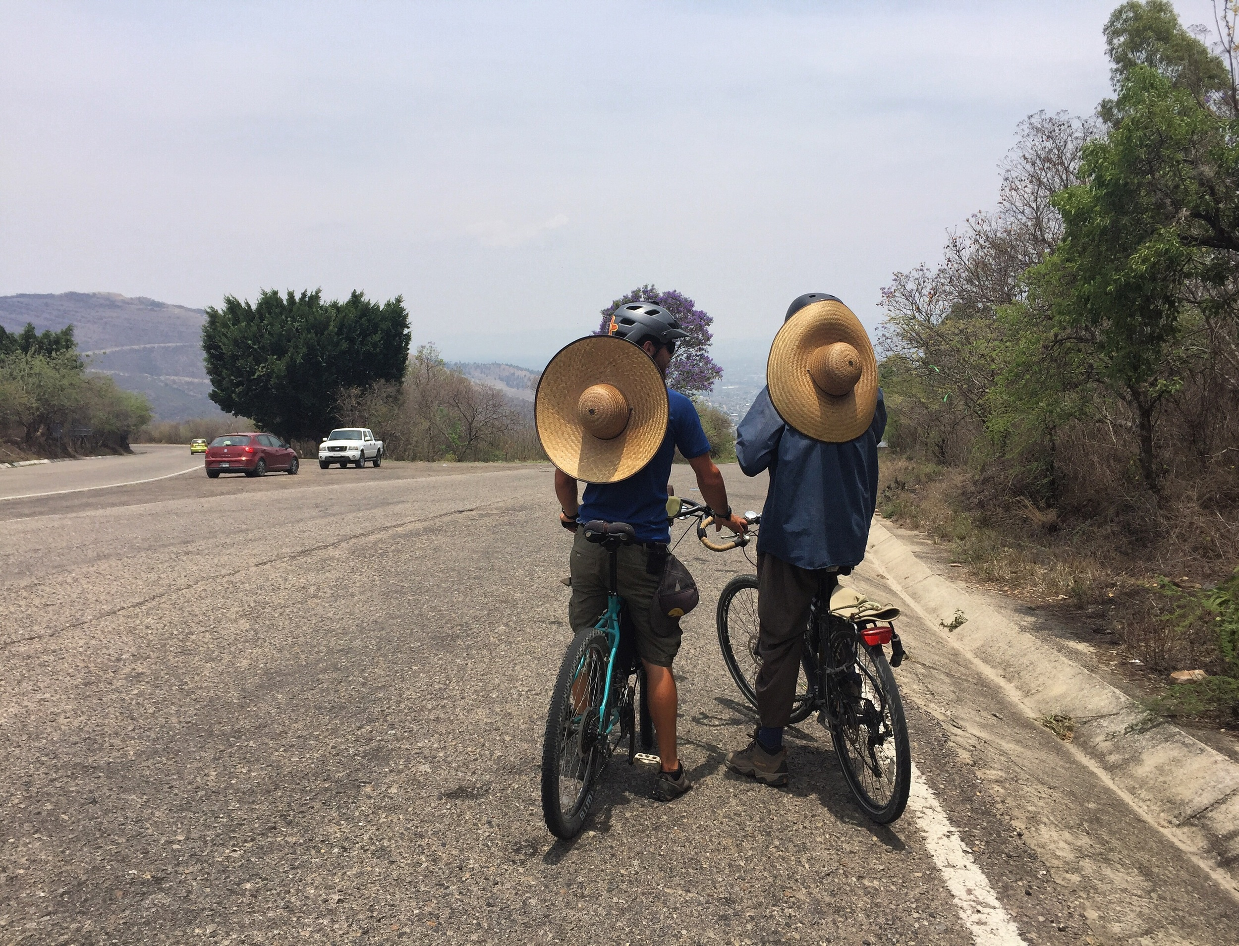 Mehedi and Benyamin at the top of the climb to Monte Albán, with their matching hats!