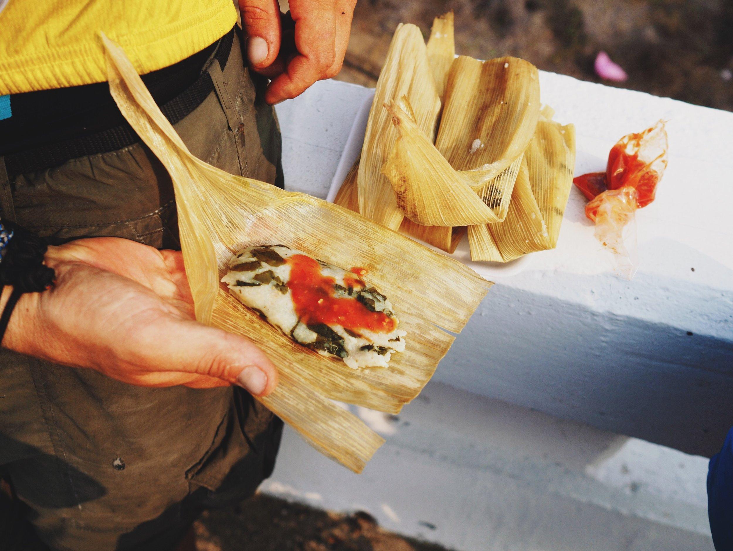 AMAZING tamales at the road block