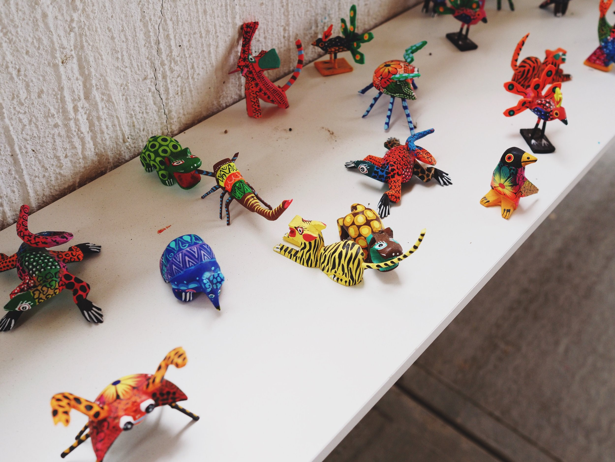 Tiny carved wooden & painted animals