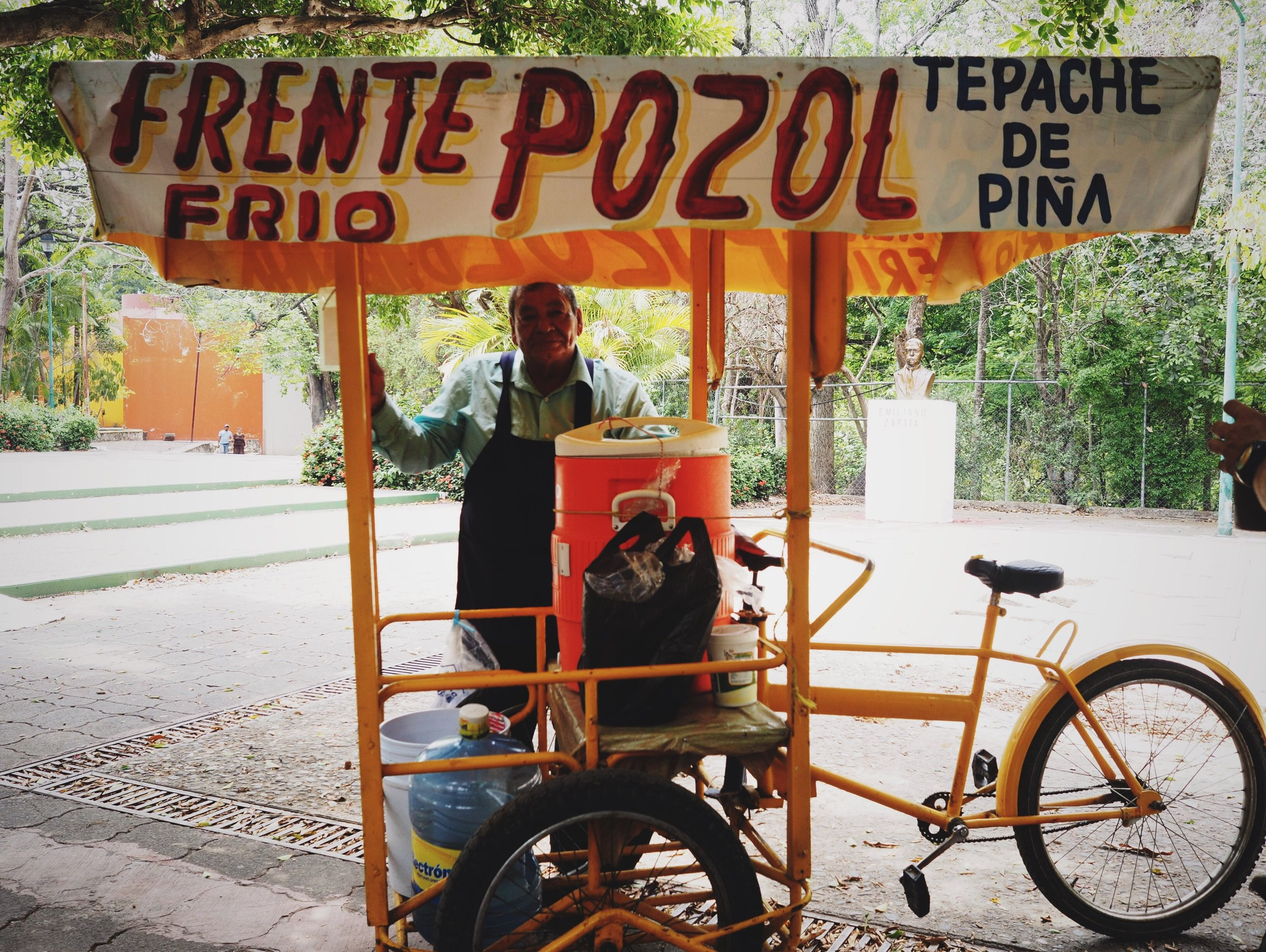 Vendor selling Pozol in Tuxtla - a corn and chocolate drink commonly found in Chiapas