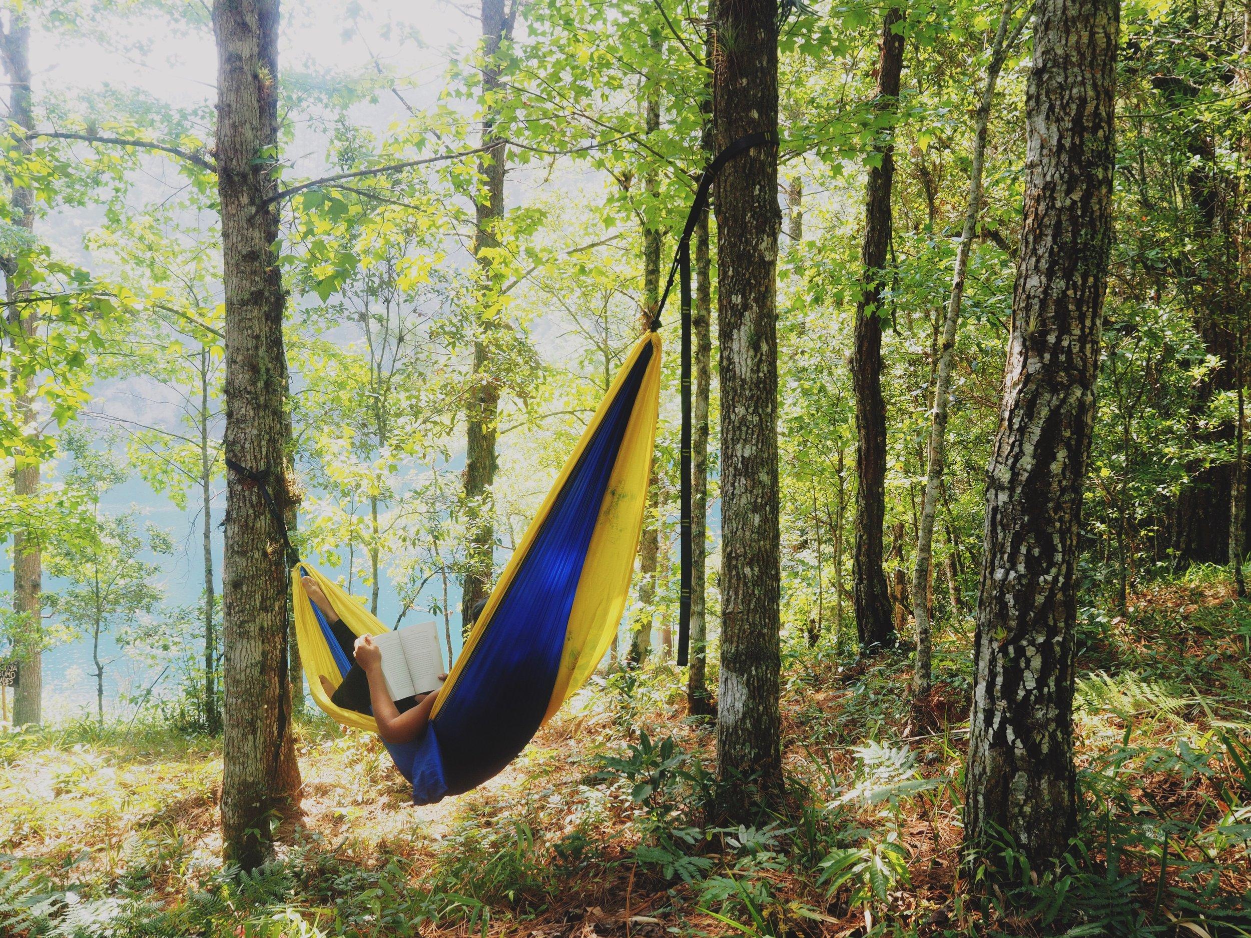 Enjoying a day off in our Serac hammock