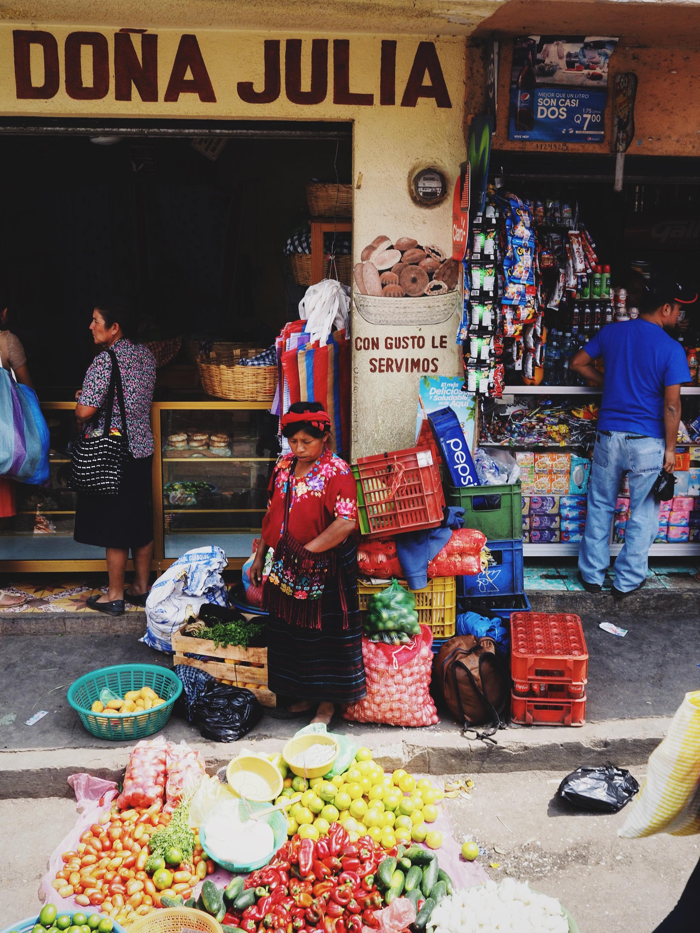 Mayan woman selling produce, Huehuetenango