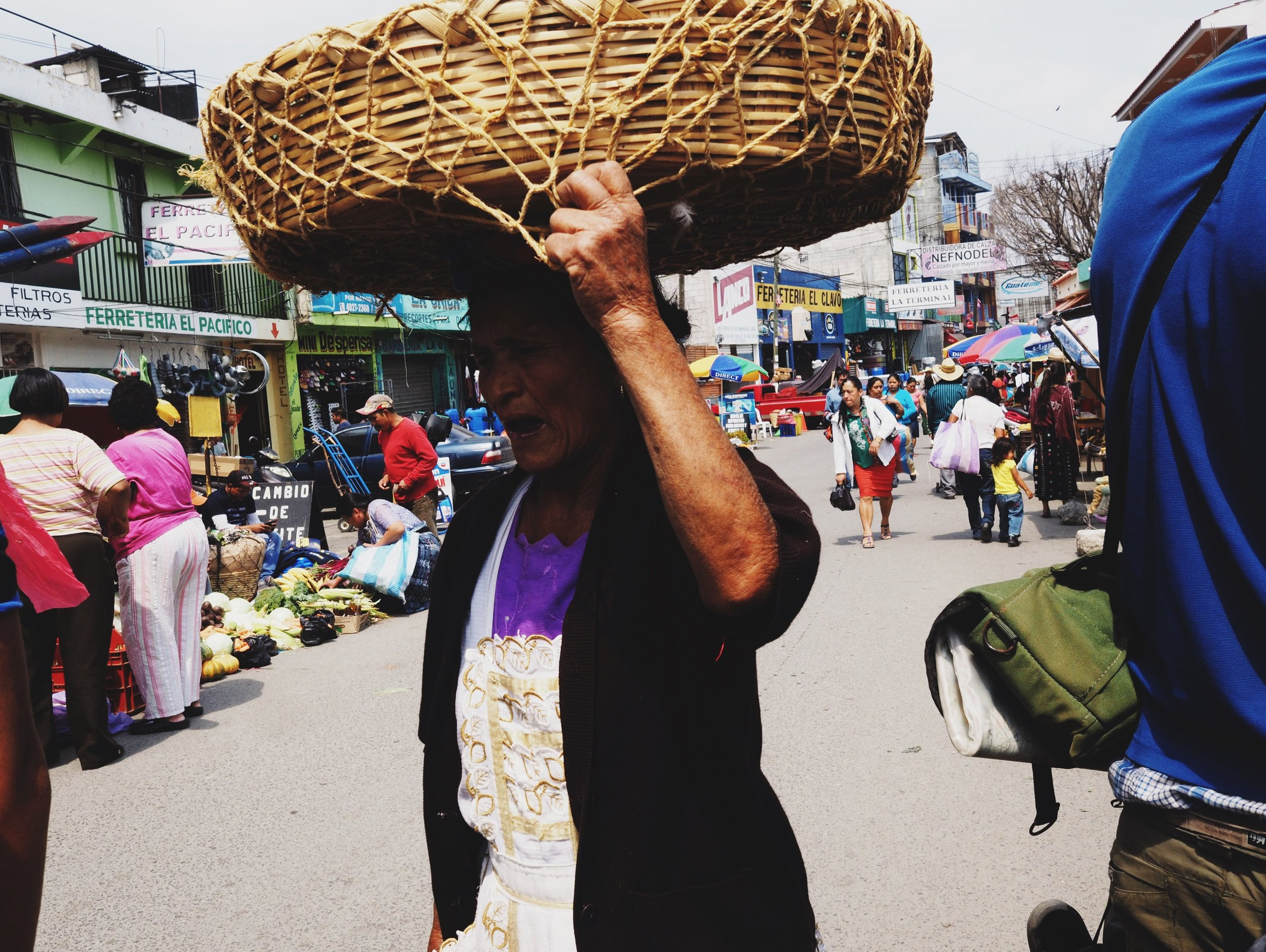 Women carrying things on their head - a common sighting throughout Guatemala