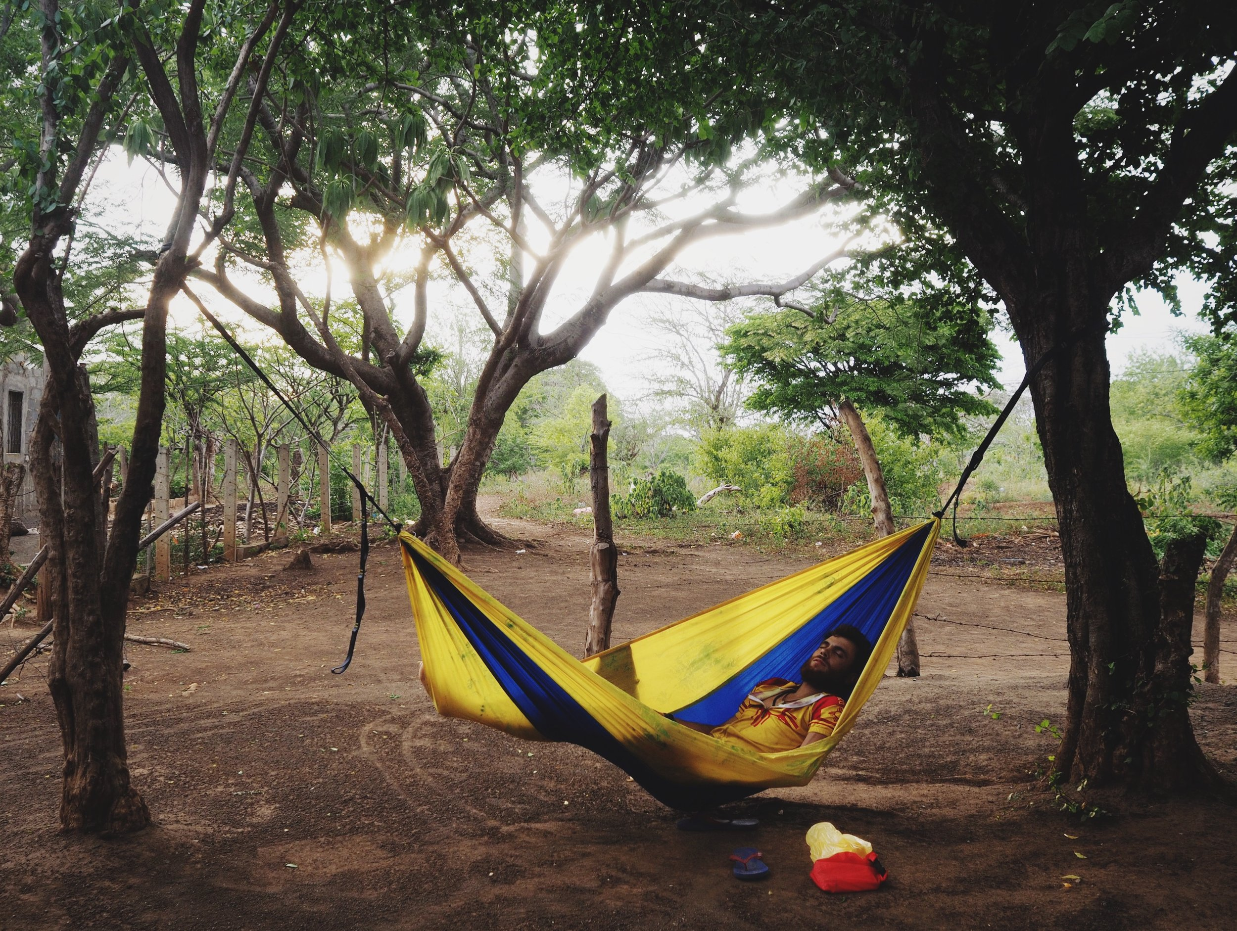 Taking a snooze in our Serac hammock after a hot pedal around the Chiltepe Peninsula