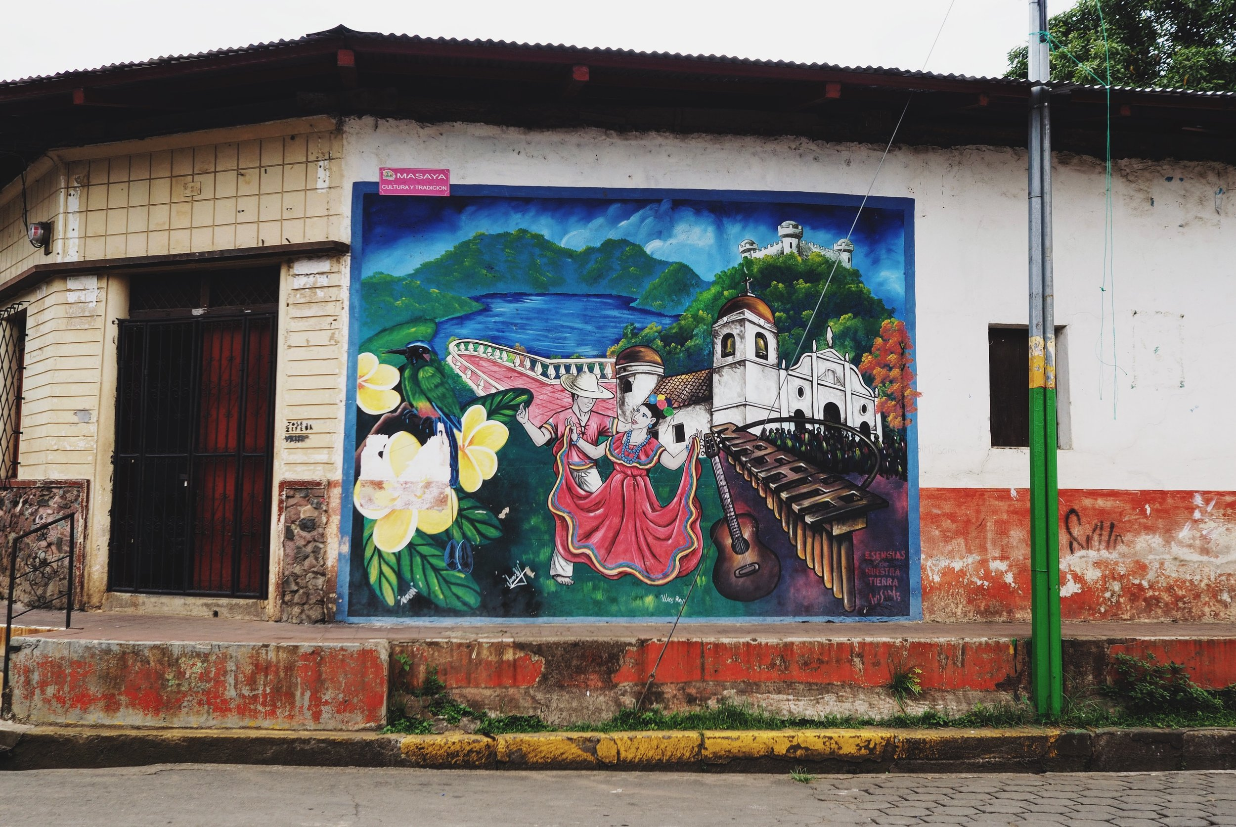 The street art is bright, colorful, and adorns nearly every available wall!