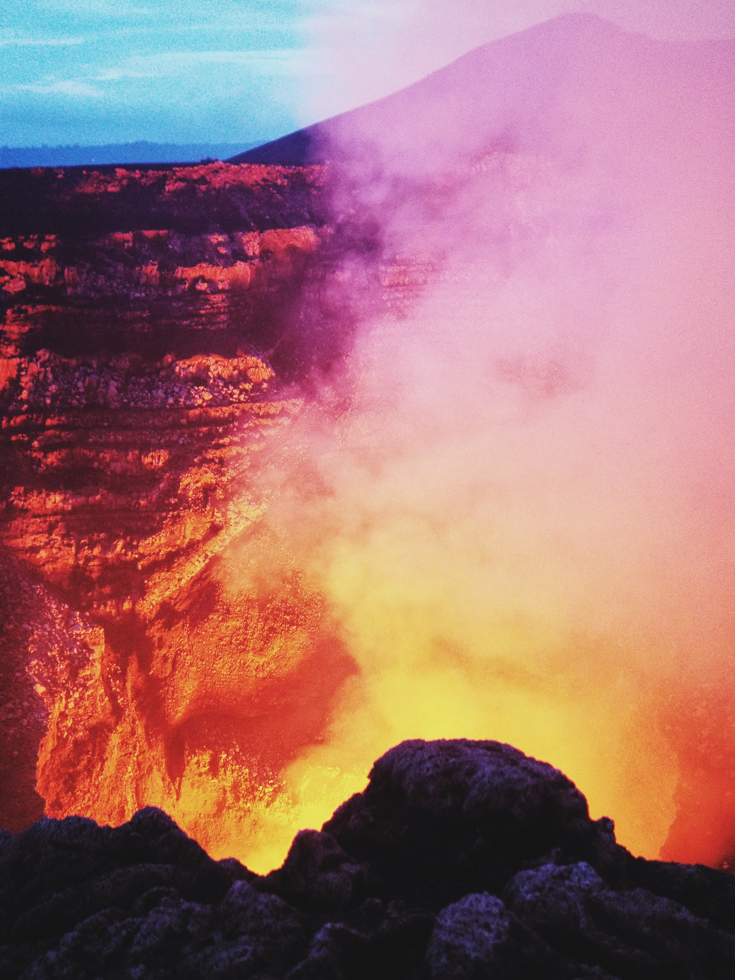 Extraordinary colors filled the sky above and around the volcano, then we peered down...