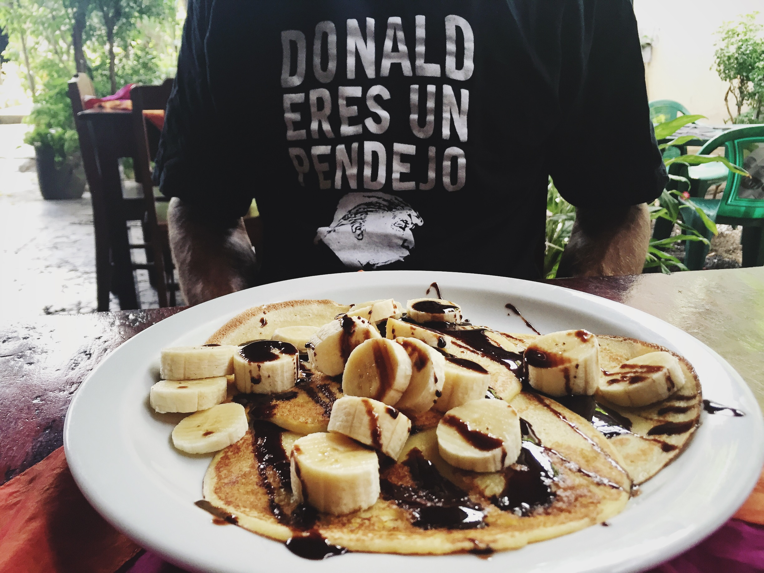 We stayed at a lovely hostel that served crepes, bananas and Nutella for breakfast. Political statements were well received by locals and travelers alike! Looks like this shirt won't be going out of fashion for at least four years.