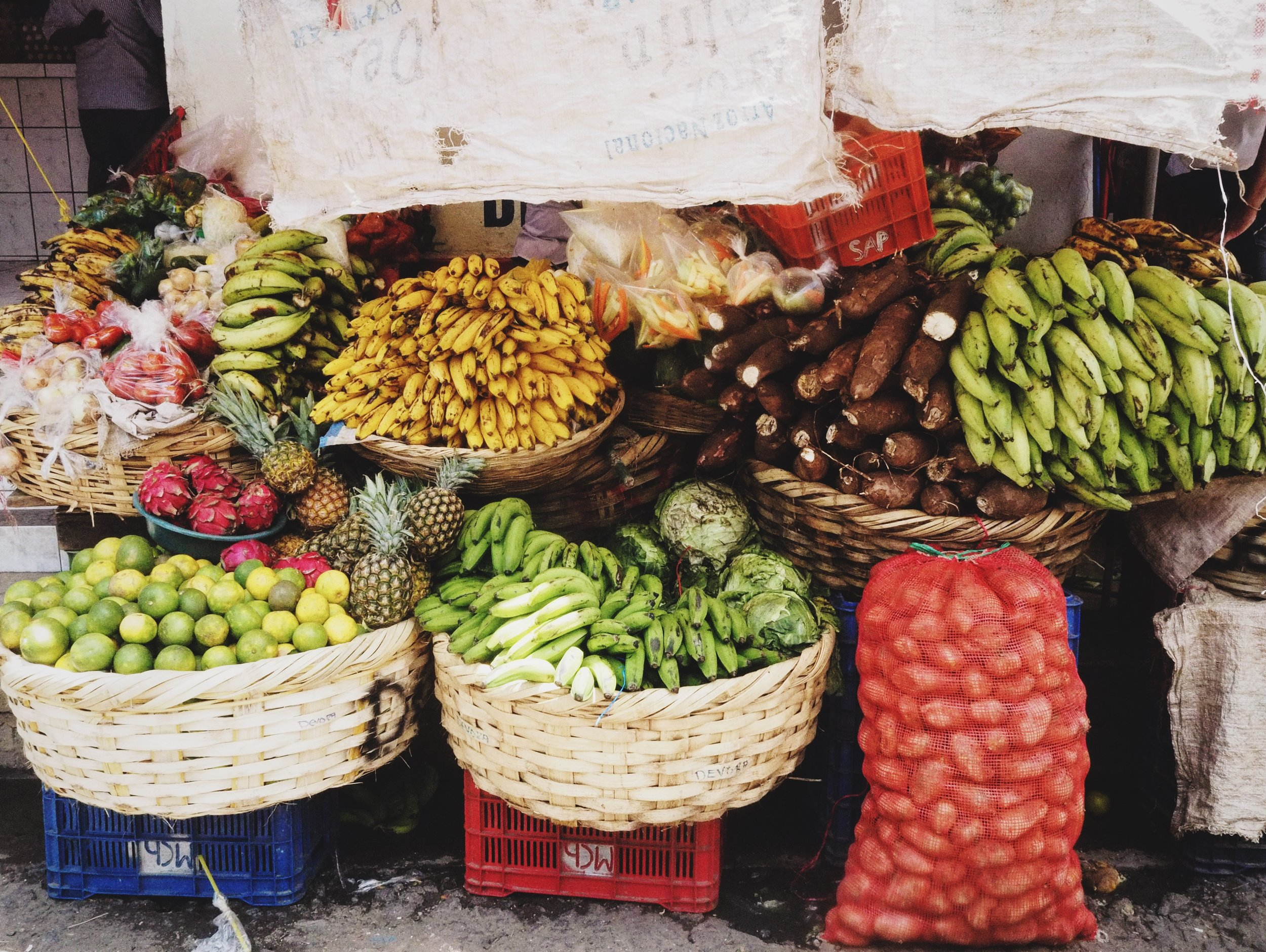 The market was overflowing with great produce and spices.