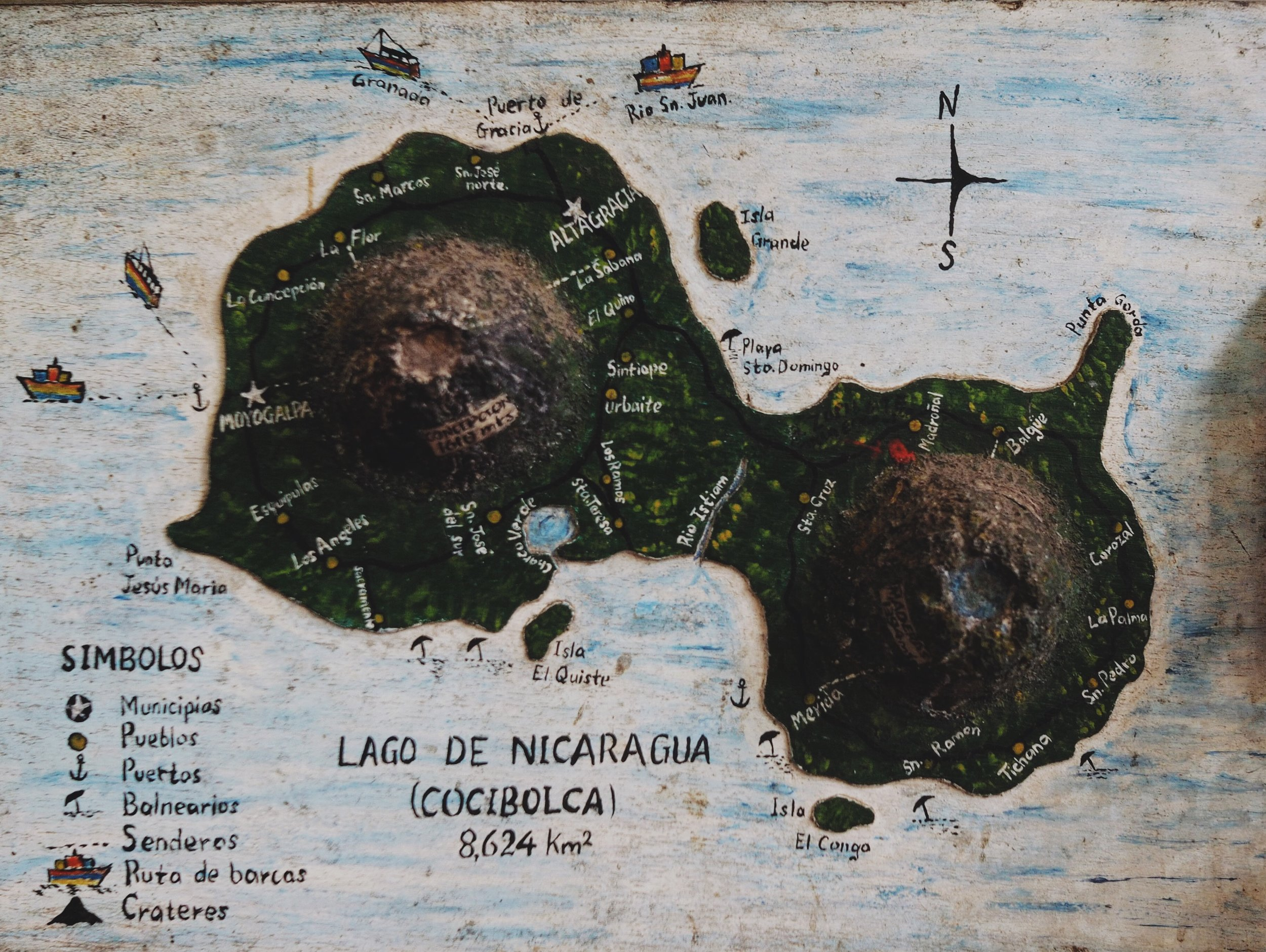 Local three dimensional map of Ometepe – we cycled around the entire perimeter of the island, mostly on dirt roads!
