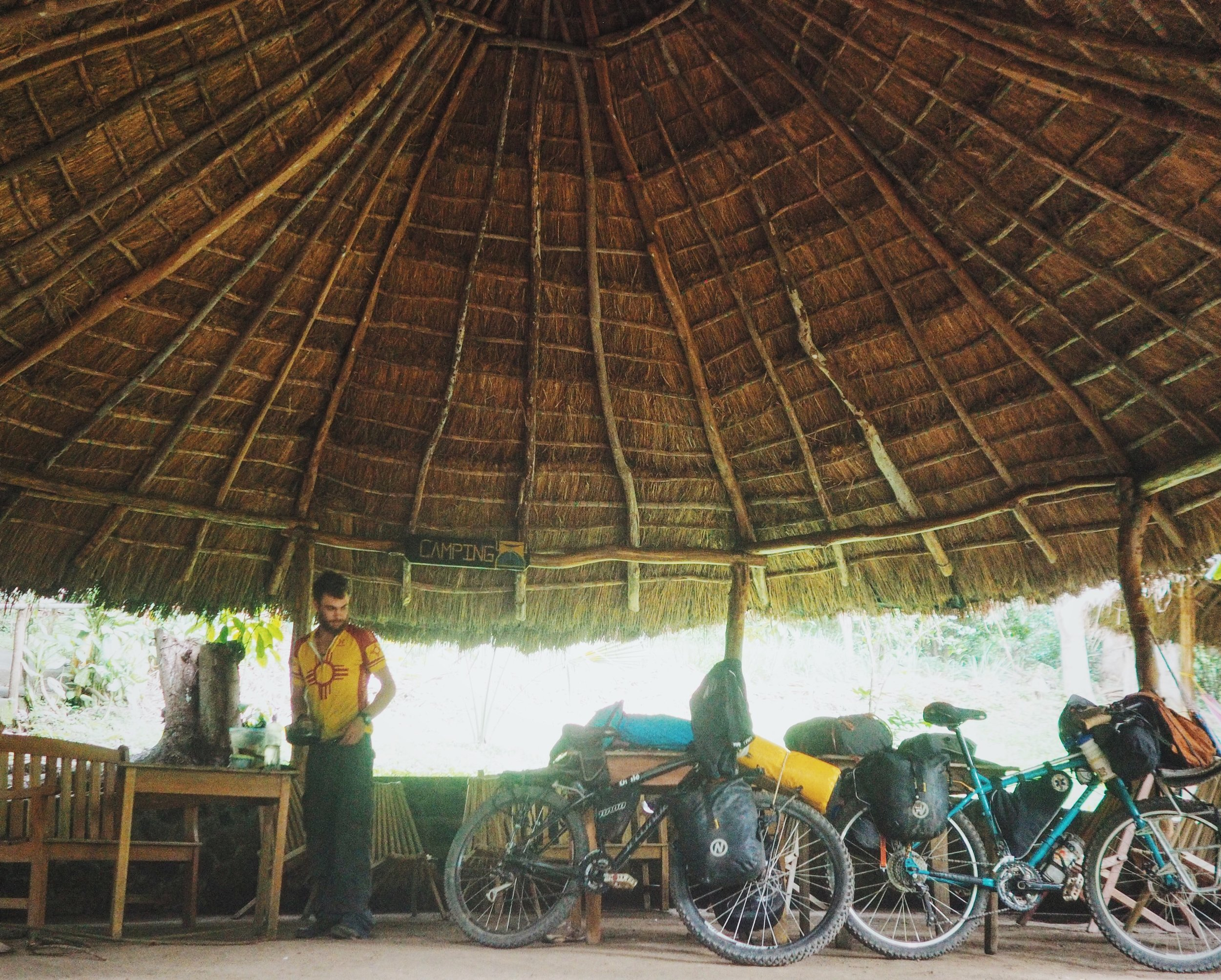 Around 5pm or so, all the tourists left the cenote and we had the place to ourselves! We pitched our tent beneath a palapa. It's rare to have a table and chairs at our campsite, but we took full advantage!