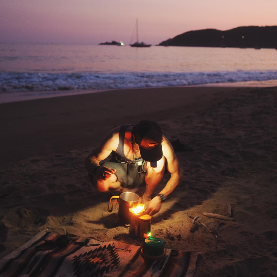 Mehedi fires up the CampStove on the beach in Mexico