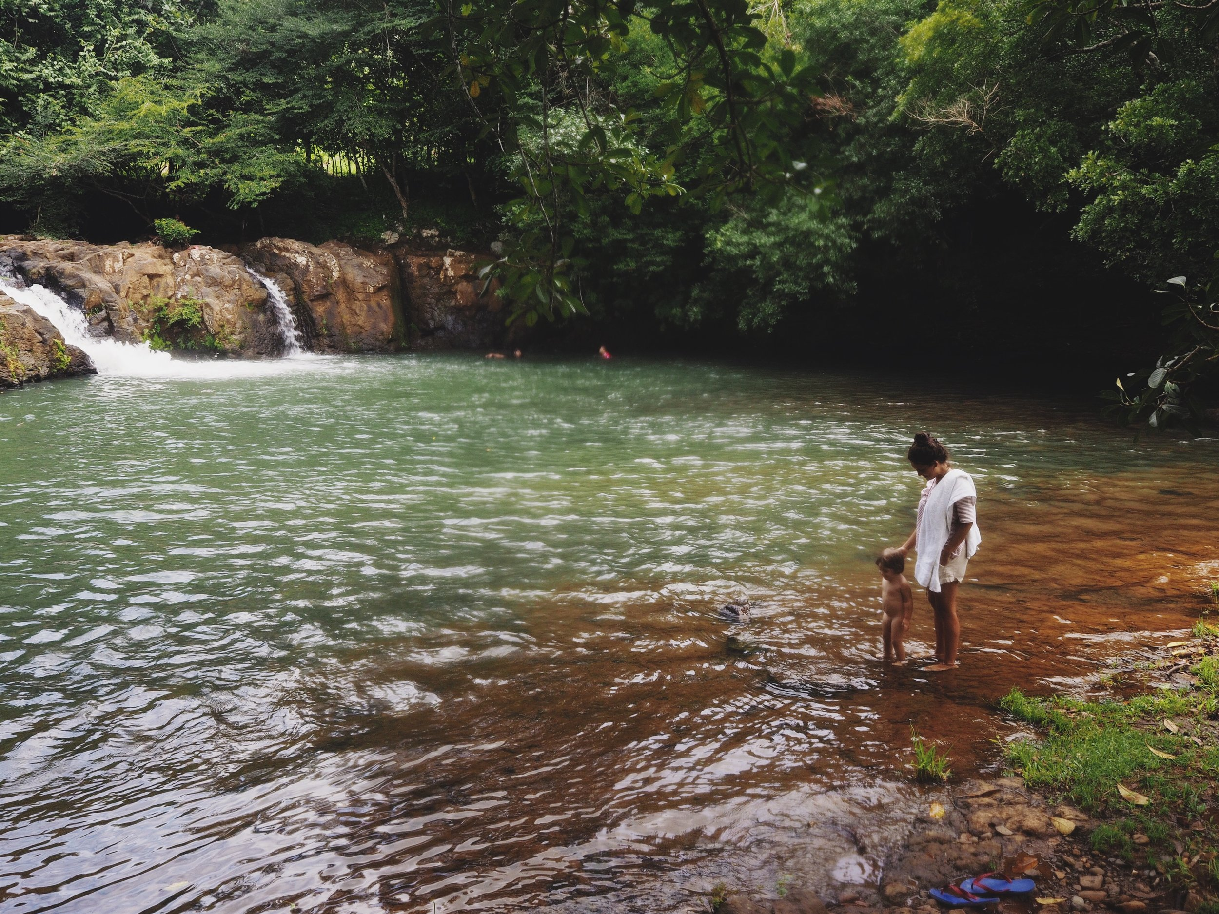 Stephanie and little Maya enjoying the swimming hole in Santiago