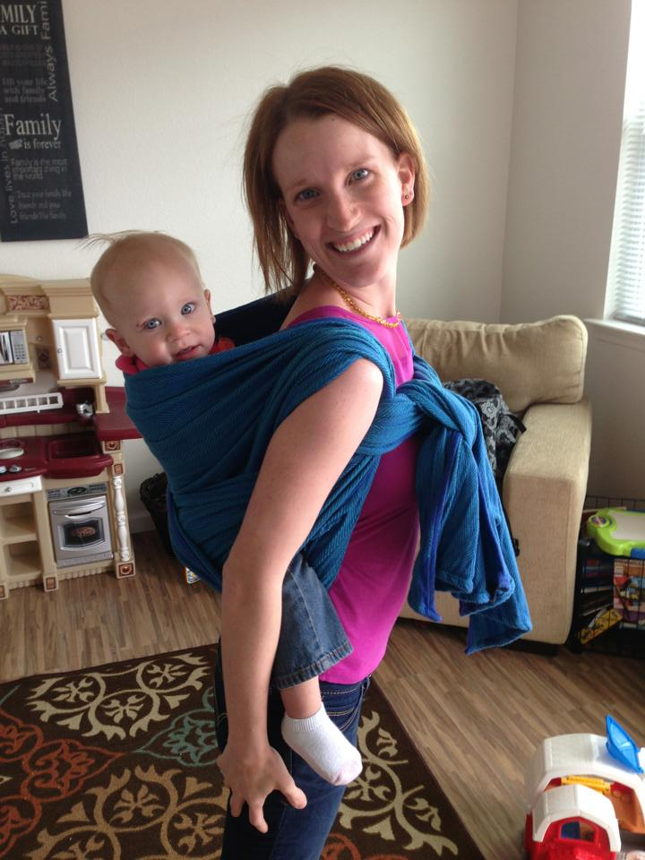 This is me wearing my youngest in that special wrap for the very first time!Somehow, I didn't learn about woven wraps till she was a toddler!