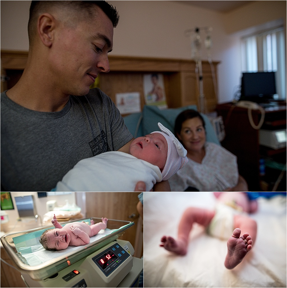 dad holding baby in peoria illinois hospital