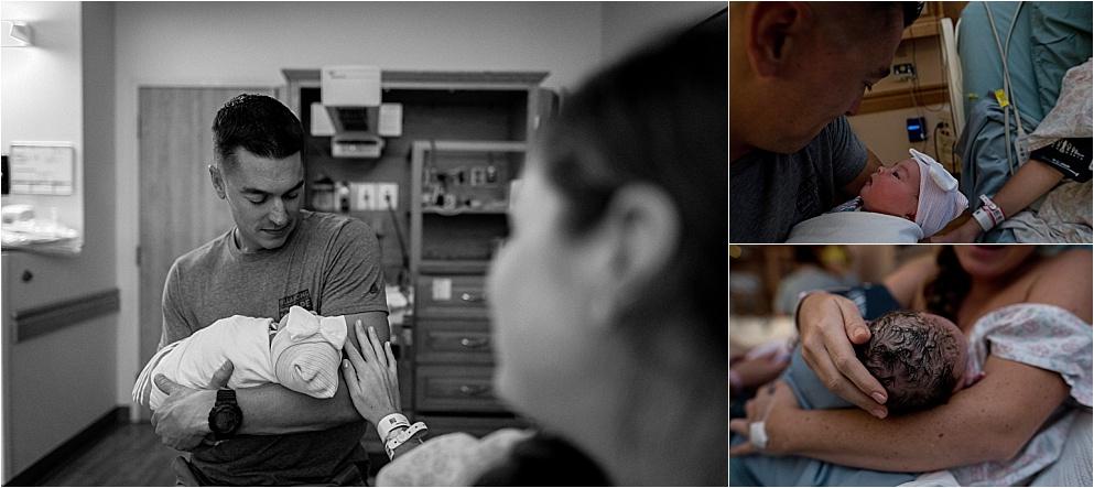 newborn with dad in peoria illinois hospital