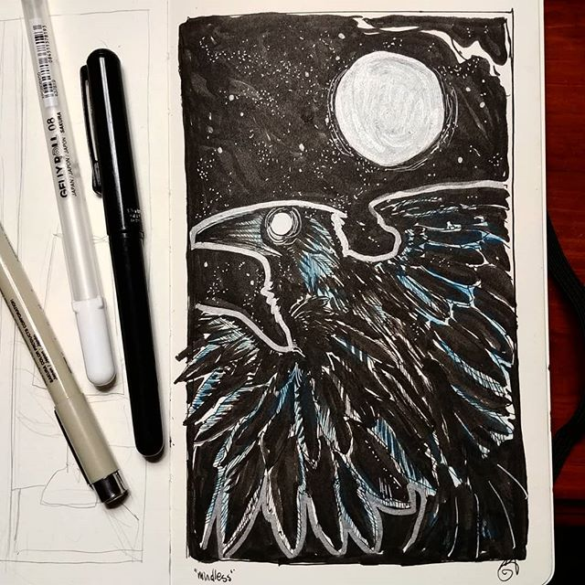 "#inktober day two: ""mindless"" (combined with ""moon"") .  I kept refering back to eyes. Eyes are the windows to one's soul, and if your eyes are empty, well- perhaps your mind is too... 👁️ . . #inktober #inktober2019 #crow #raven #sketchbook #instart #ink #marker #sketch"