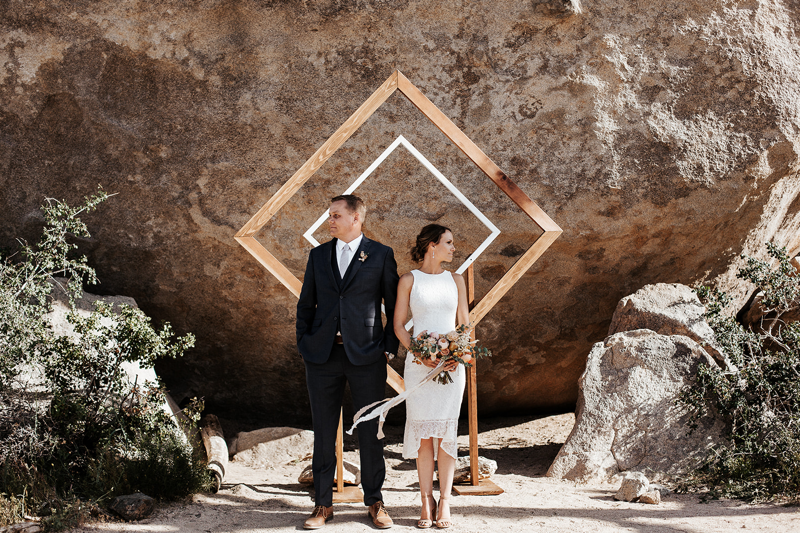 """""""I don't even know where to begin. We had a small 28 person wedding (which includes Darian) in Joshua Tree National Park and I didn't know what to expect for our wedding while looking through all of her gorgeous big traditional wedding photos. What ended up happening was absolute magic by Darian! We didn't go into our day will a photography plan, she just did her thing and it was perfect! She had complete control and I have had so many compliments on our wedding photos. And compliments on Darian in attendance (small wedding so she was in with the family!) Darian is fantastic and I highly recommend her! She is probably one of the sweetest people I know, she is professional, easy to communicate with, knows what she's doing, makes you feel comfortable and will completely capture your vibe. I will definitely be a return customer! Thank you Darian!""""  Jessica Jo"""