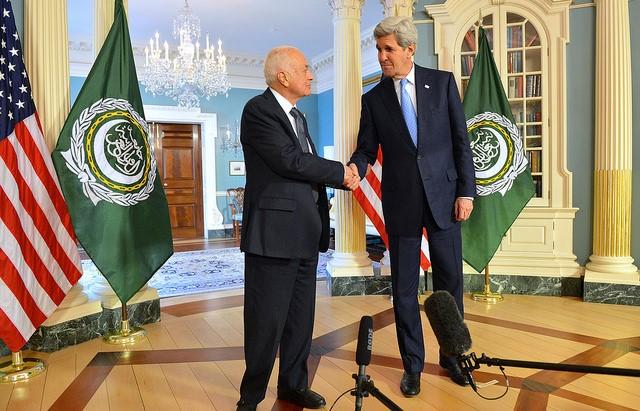 U.S. Secretary of State John Kerry & Arab League Secretary-General Dr. Nabil Elaraby,, Photo by U.S. Department of State