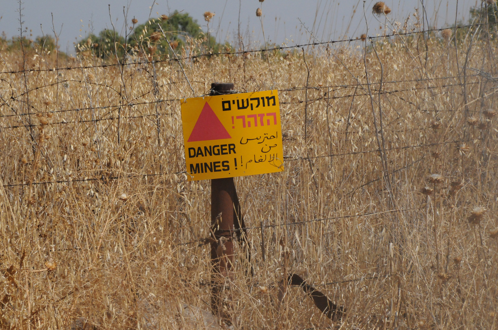 Landmine Warning Sign in Golan Heights, Israel, 2009, Photo by Crivvit