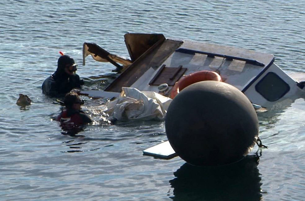 Sunken Syrian Refugee Boat off coast of Greece, Photo Courtesy of Notimix