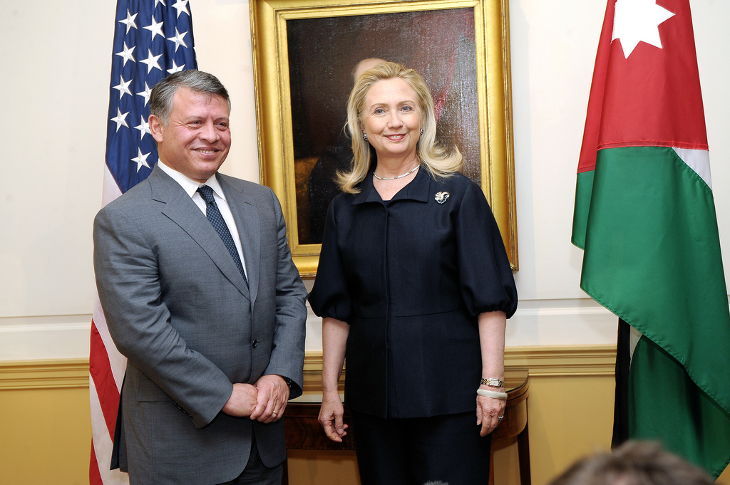 U.S. Secretary of State Hillary Rodham Clinton meets with King Abdullah II of Jordan at the U.S. Department of State in Washington, D.C., on January 18, 2012. [State Department photo/ Public Domain]