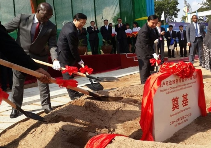 Chinas Zhang Dejiang and Rwanda's Prime Minister Anastase Murekezi at ground breaking ceremony for construction of the Multimillion complex, Photo by KT Press