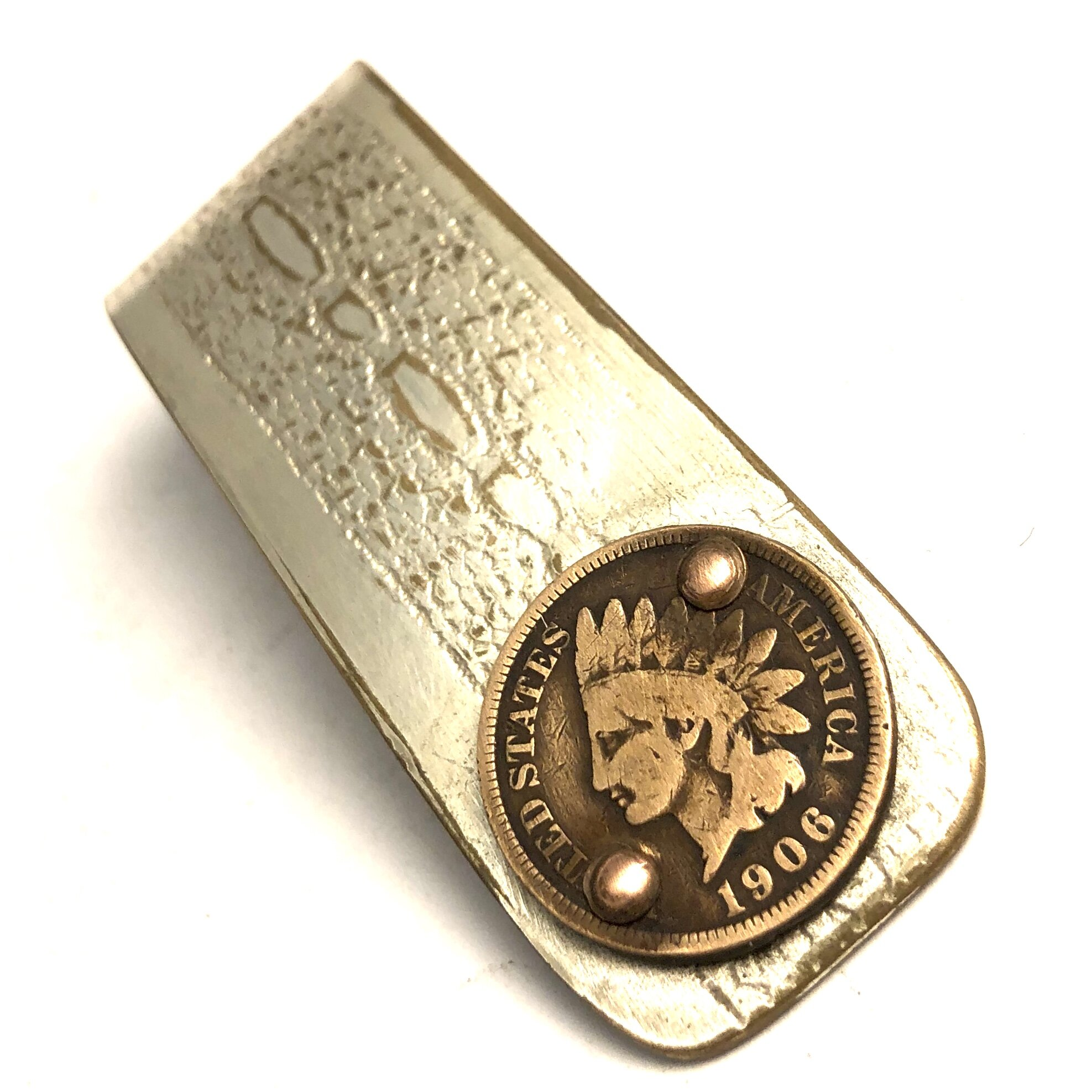 Indian Head Penny Money Clip Silver Plate Makeshift