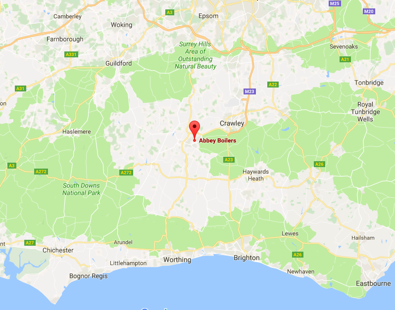 Abbey Boilers Service area in and around Surrey, Sussex & Hampshire map.