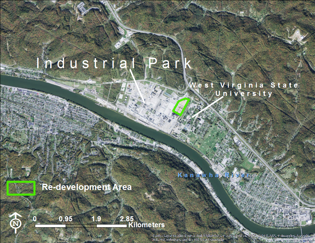Figure 1. UCC  West Virginia Operationsis located on the Kanawha River and adjacent to West Virginia State University.