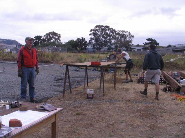 volunteers start on the framing